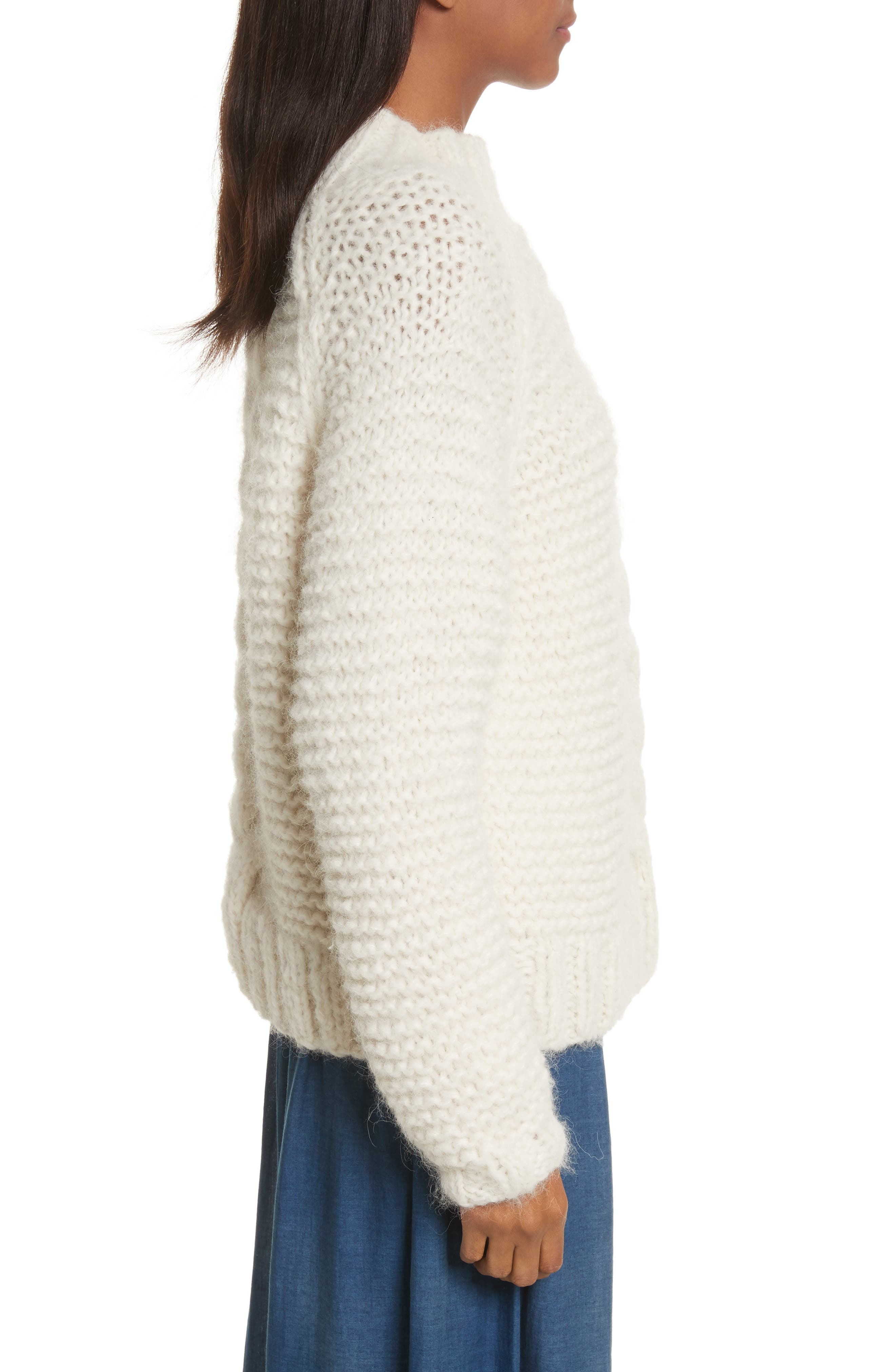 Cable Knit Pullover,                             Alternate thumbnail 3, color,                             902