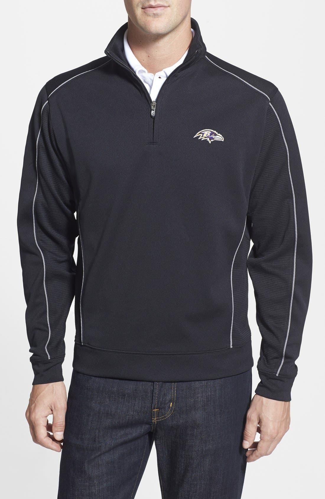 Baltimore Ravens - Edge DryTec Moisture Wicking Half Zip Pullover,                             Main thumbnail 1, color,                             001