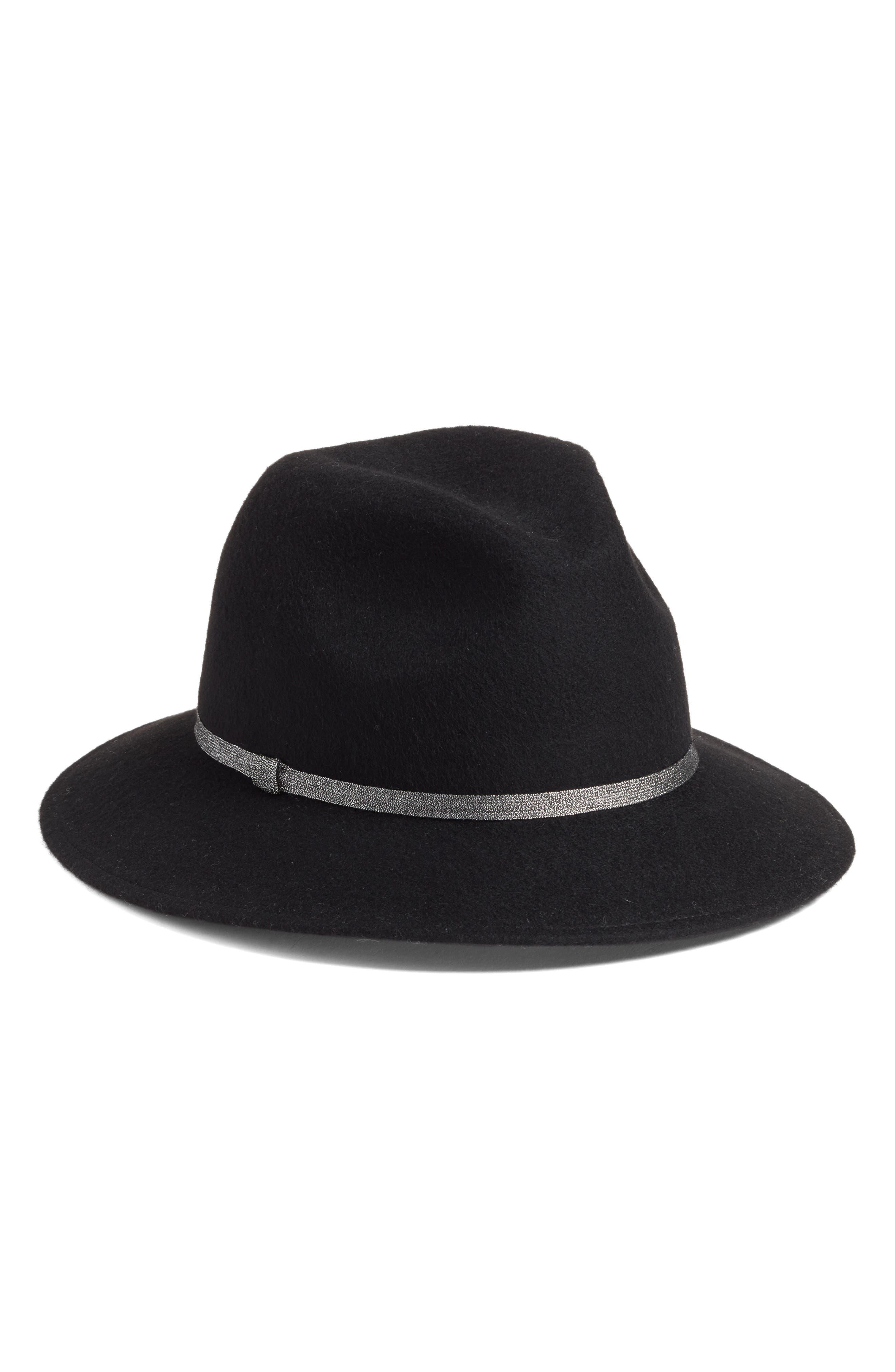 Metallic Band Wool Felt Panama Hat,                             Main thumbnail 1, color,                             BLACK