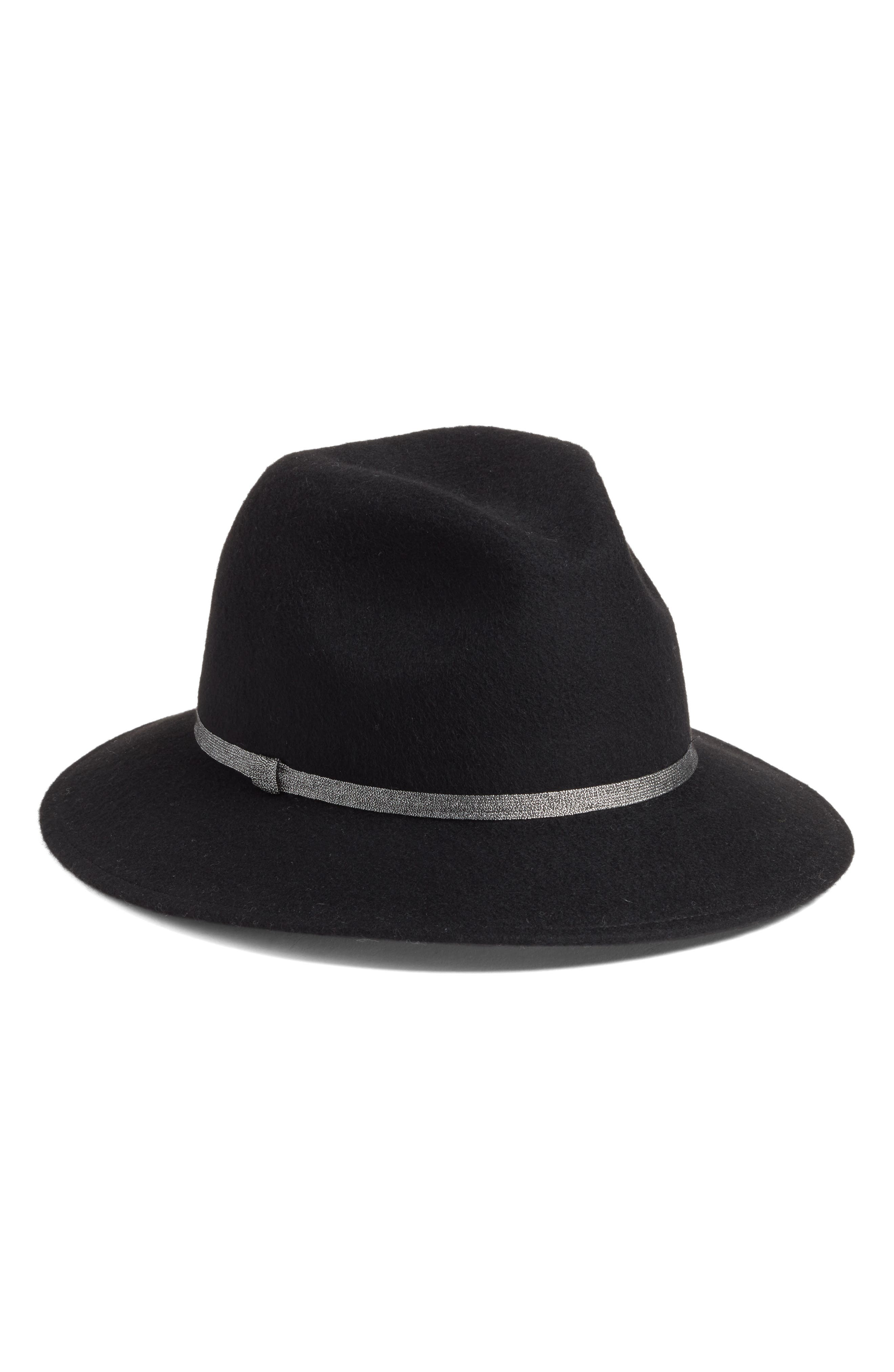 Metallic Band Wool Felt Panama Hat,                         Main,                         color, BLACK