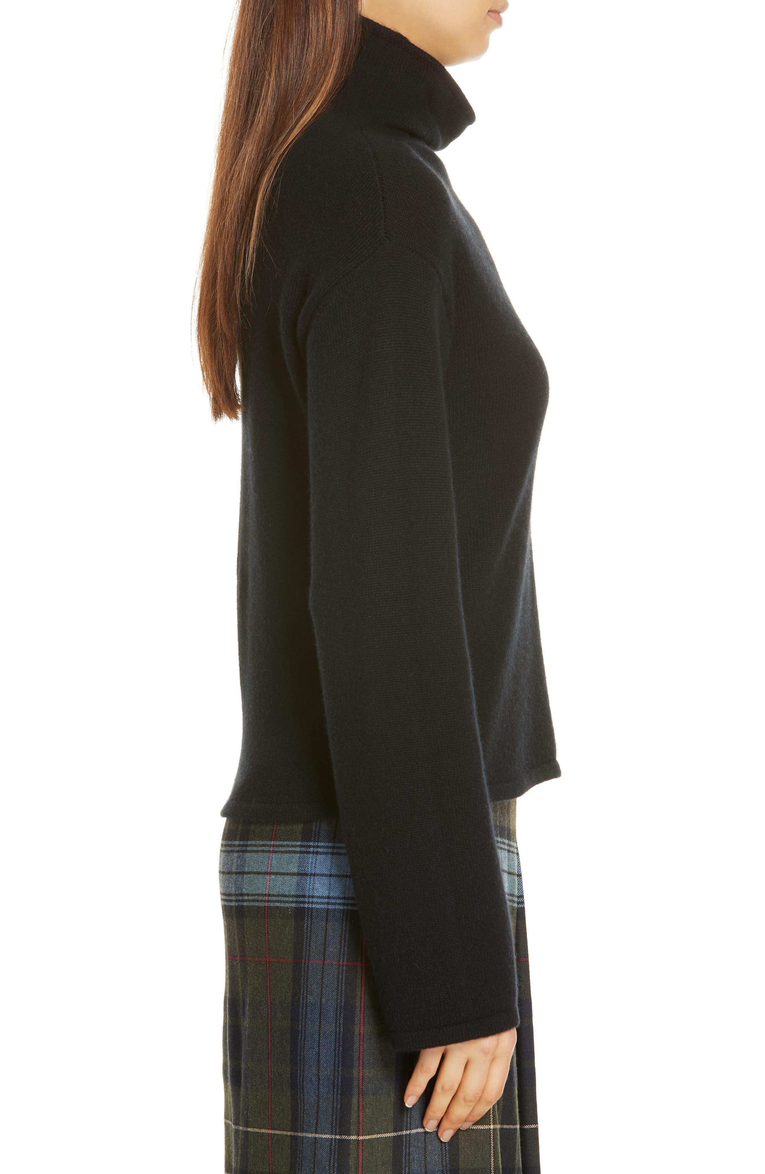 Funnel Neck Cashmere Sweater,                             Alternate thumbnail 3, color,                             BLACK