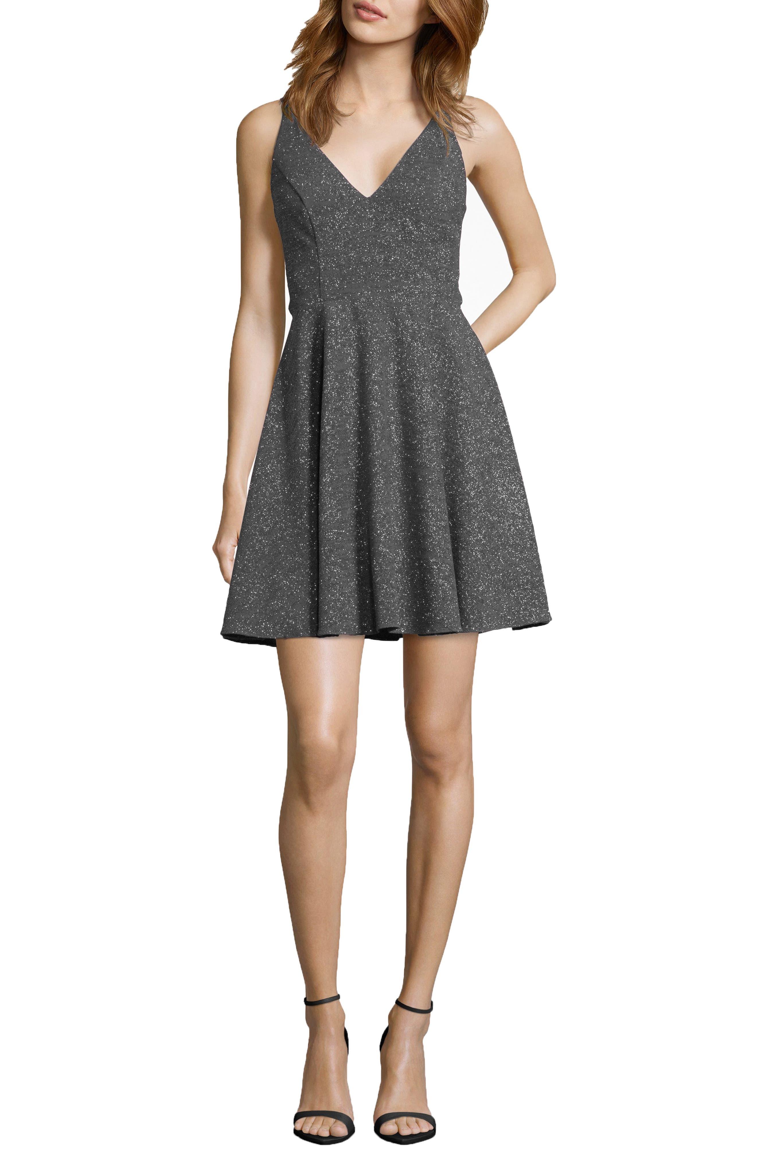 Xscape Glitter V-Neck Party Dress, Grey