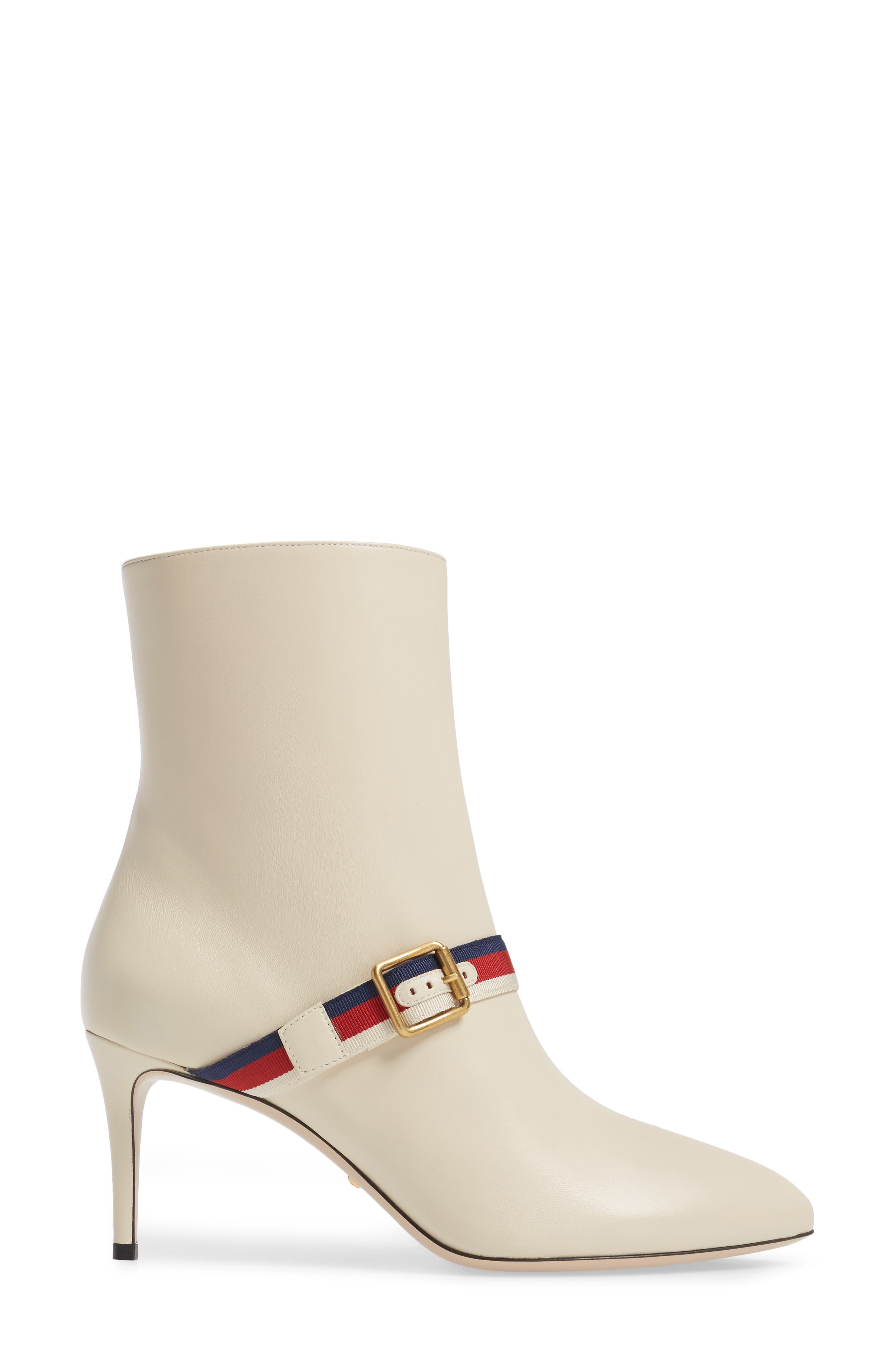 Sylvie Strap Ankle Boot,                             Alternate thumbnail 3, color,                             WHITE LEATHER
