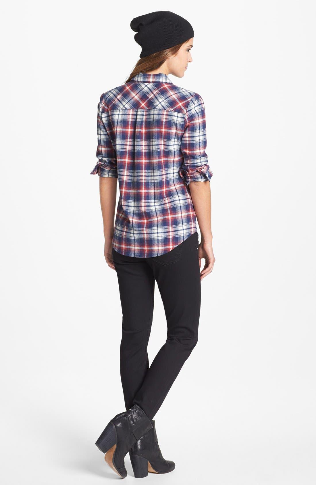 Zipper Detail Skinny Jeans,                             Alternate thumbnail 4, color,                             002