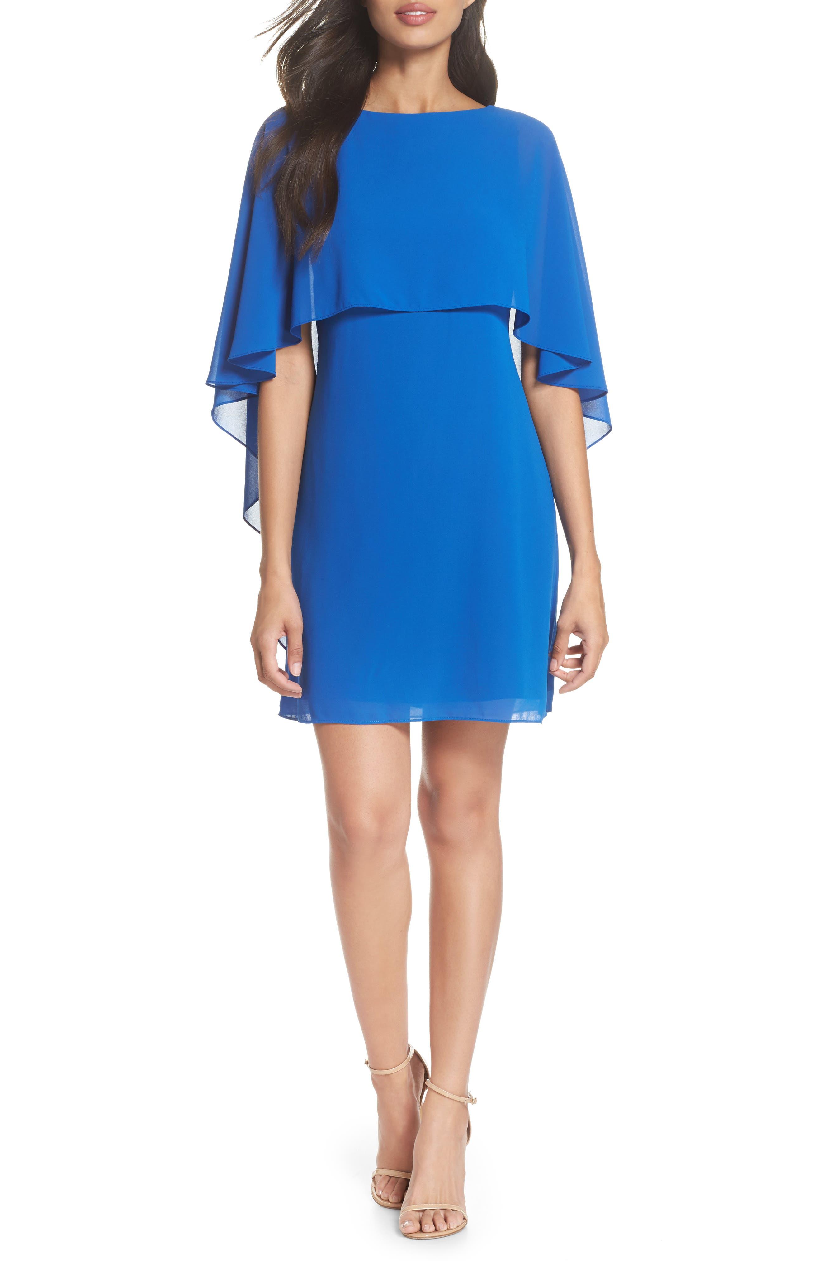 Cape Overlay Dress,                         Main,                         color, ROYAL