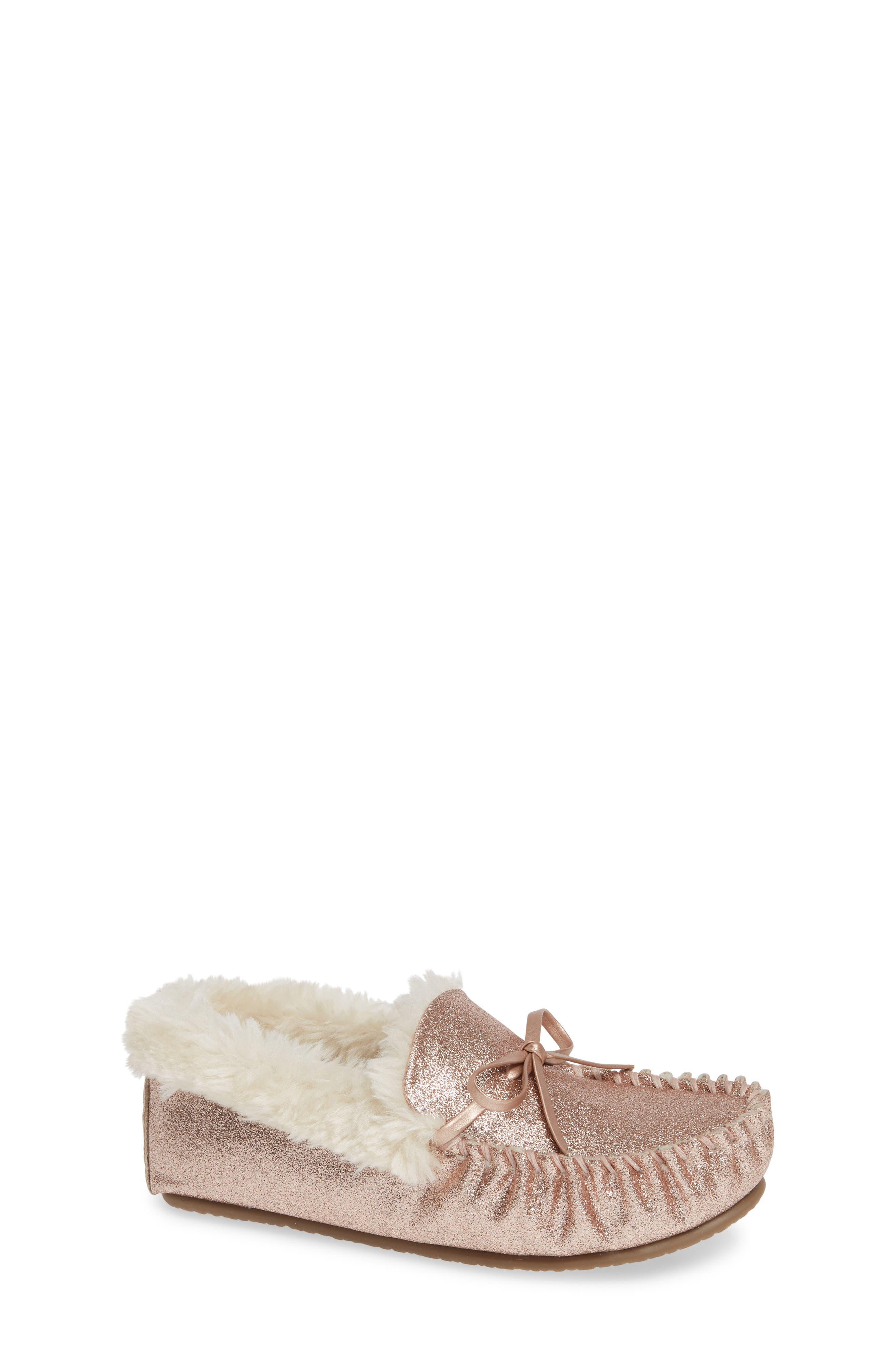 Mila Faux Fur Moccasin Slipper, Main, color, 710