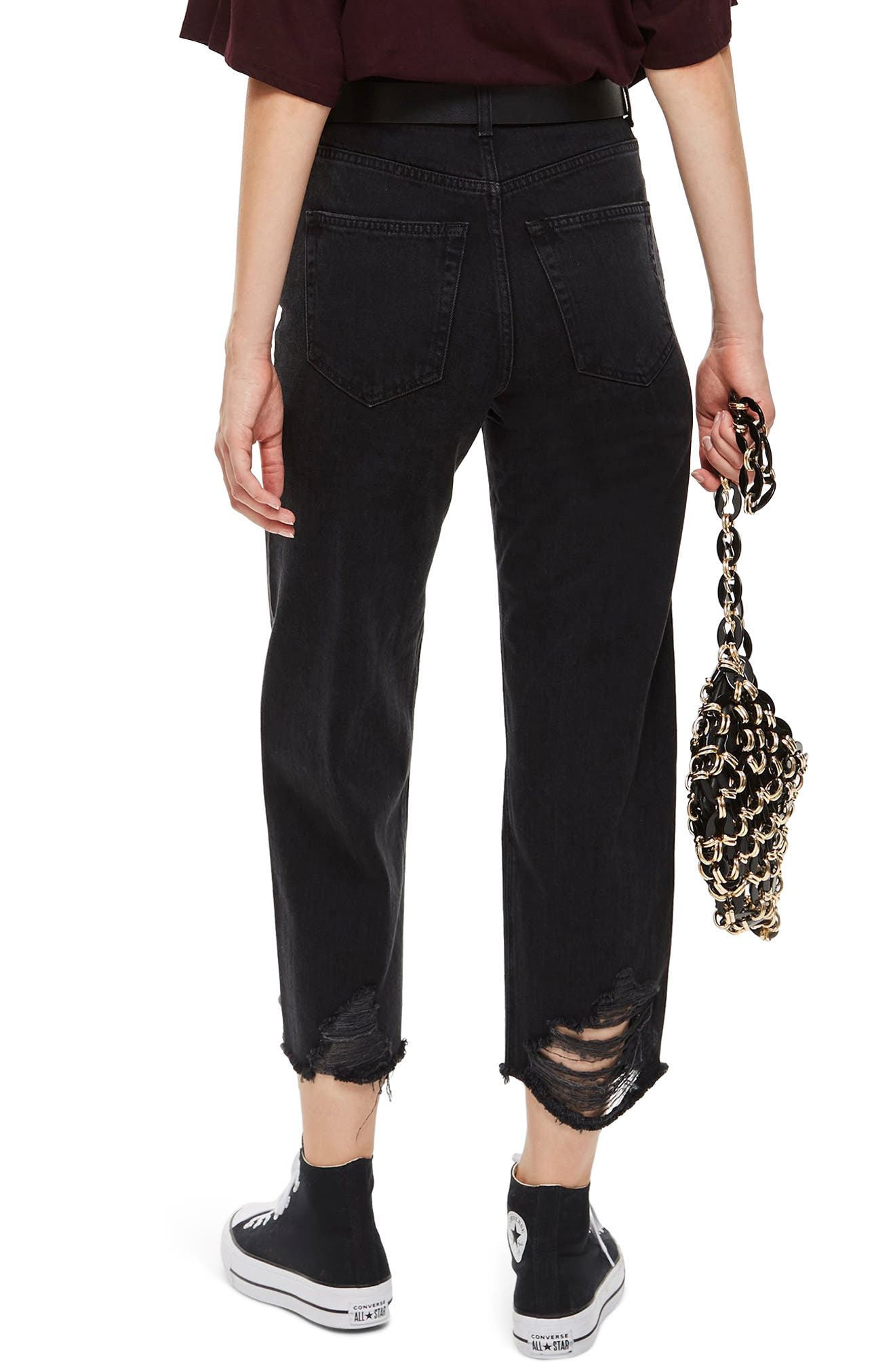 Crop Ladder Hem Jeans,                             Alternate thumbnail 2, color,                             WASHED BLACK