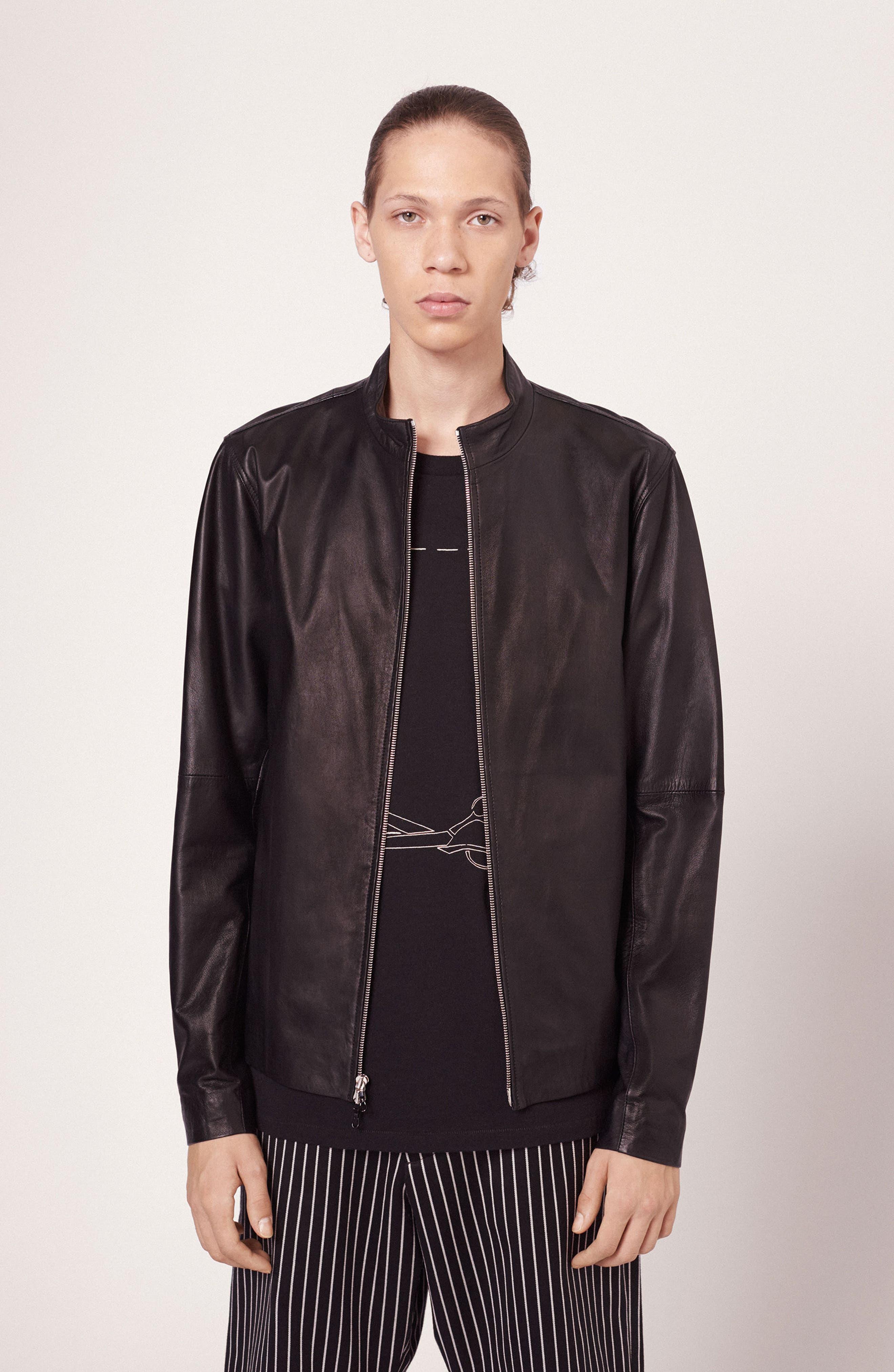 Agnes Lambskin Leather Jacket,                             Alternate thumbnail 6, color,                             BLACK