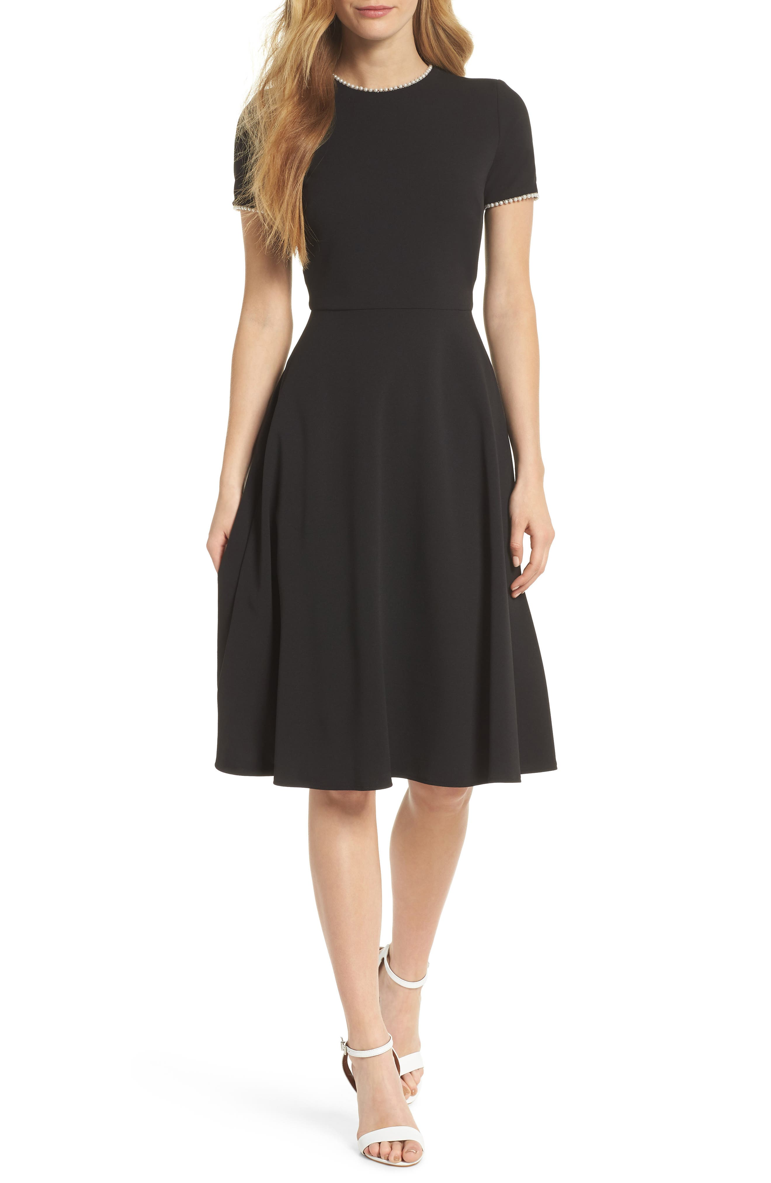 GAL MEETS GLAM COLLECTION,                             Victoria Pearly Trim Fit & Flare Cocktail Dress,                             Main thumbnail 1, color,                             BLACK