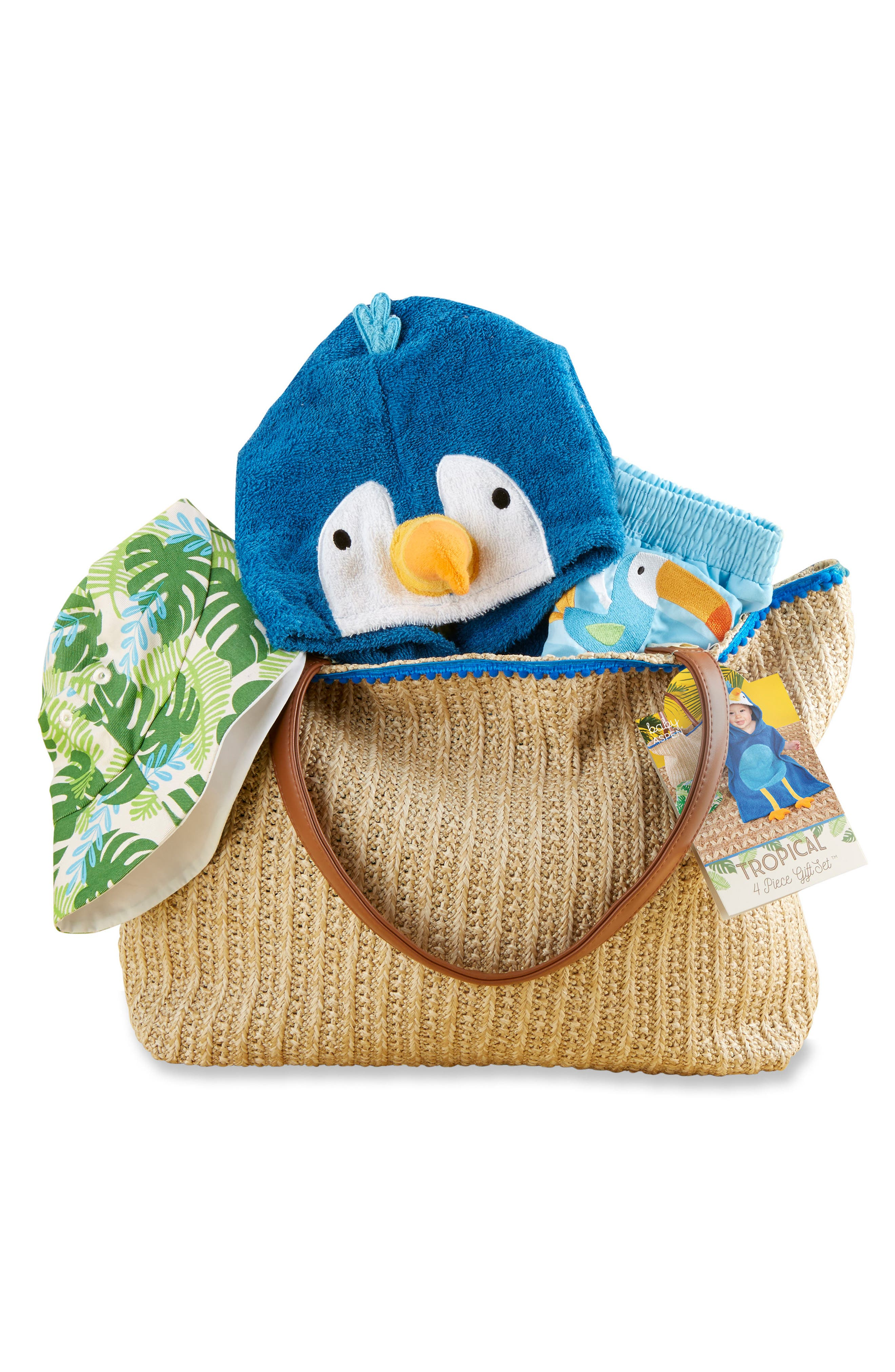 Tropical Hooded Towel, Swimsuit, Sun Hat & Tote Set,                             Main thumbnail 1, color,                             BLUE/ GREY/ WHITE/ BROWN
