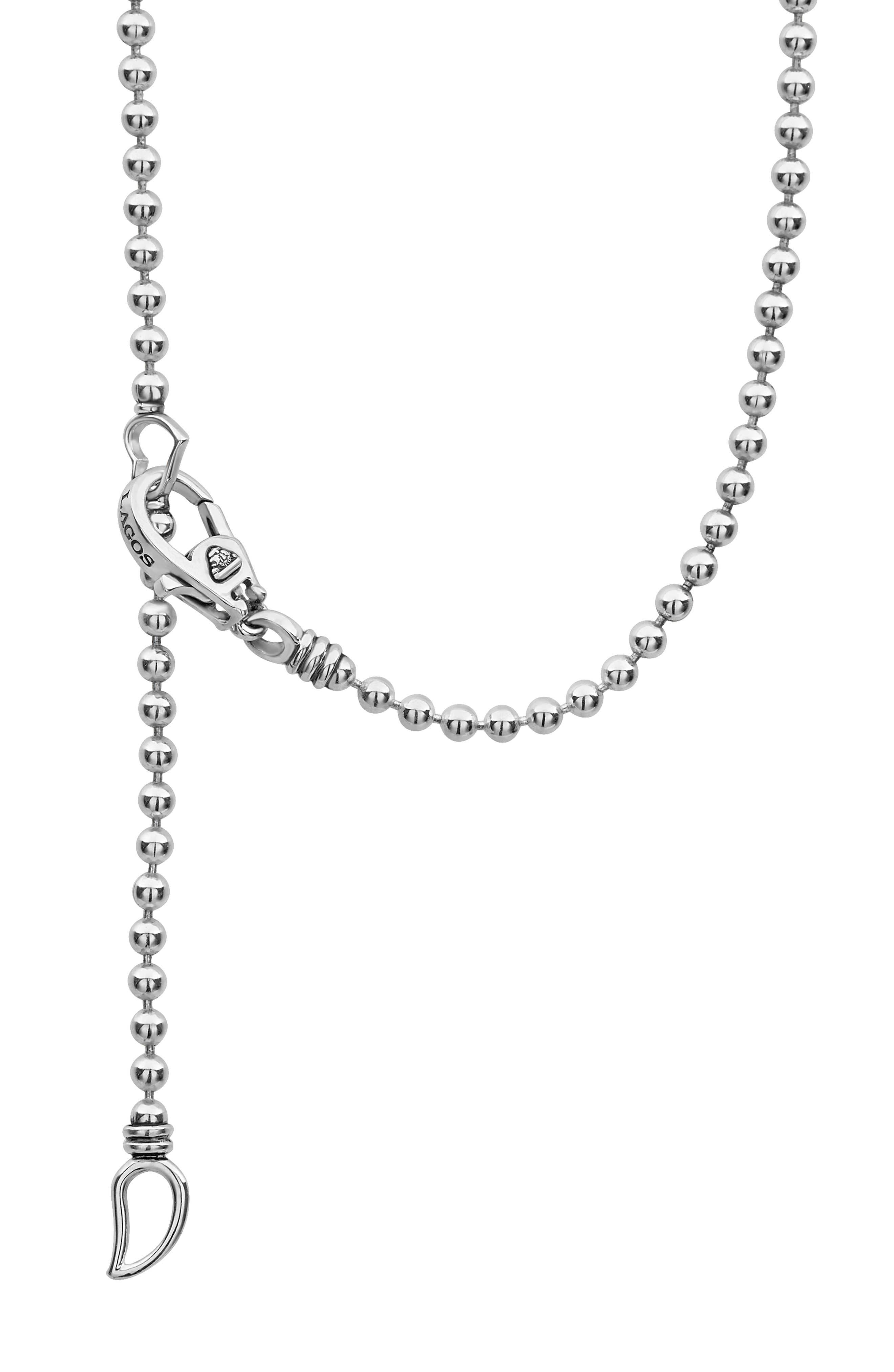 Signature Caviar Diamond Pendant Necklace,                             Alternate thumbnail 5, color,                             SILVER/ DIAMOND