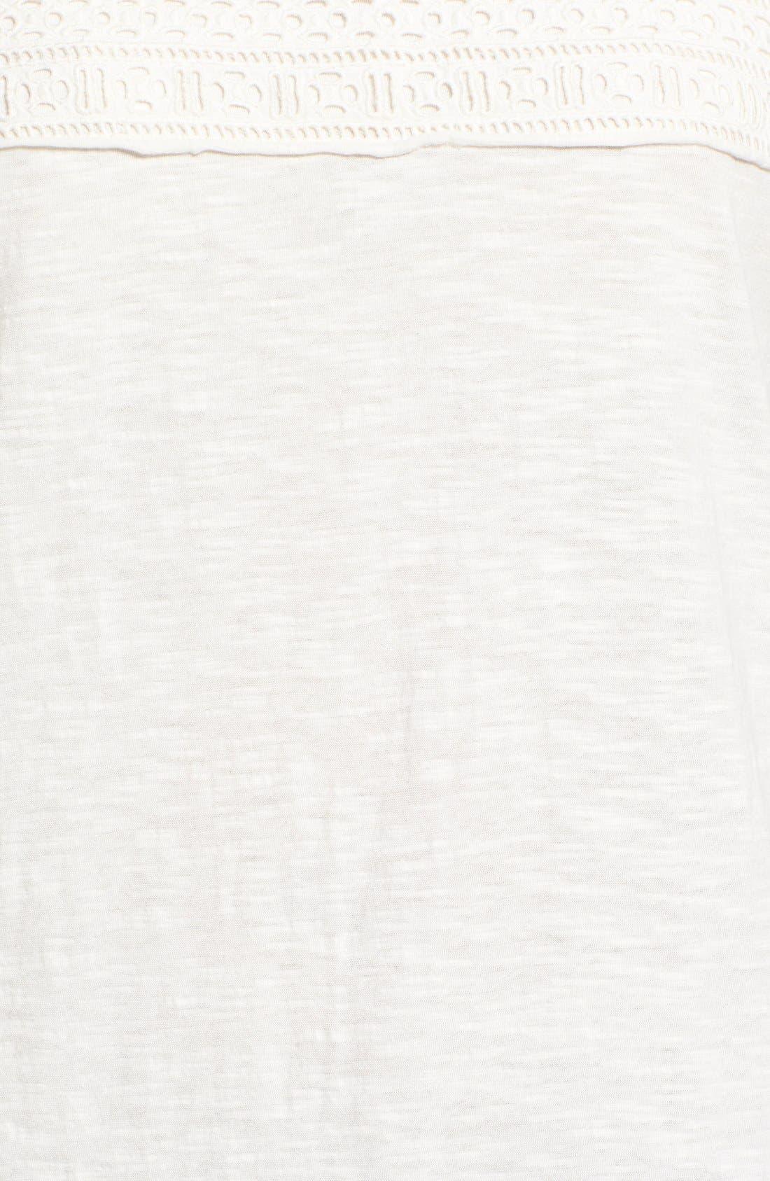 Eyelet Trim Three-Quarter Sleeve Tee,                             Alternate thumbnail 25, color,