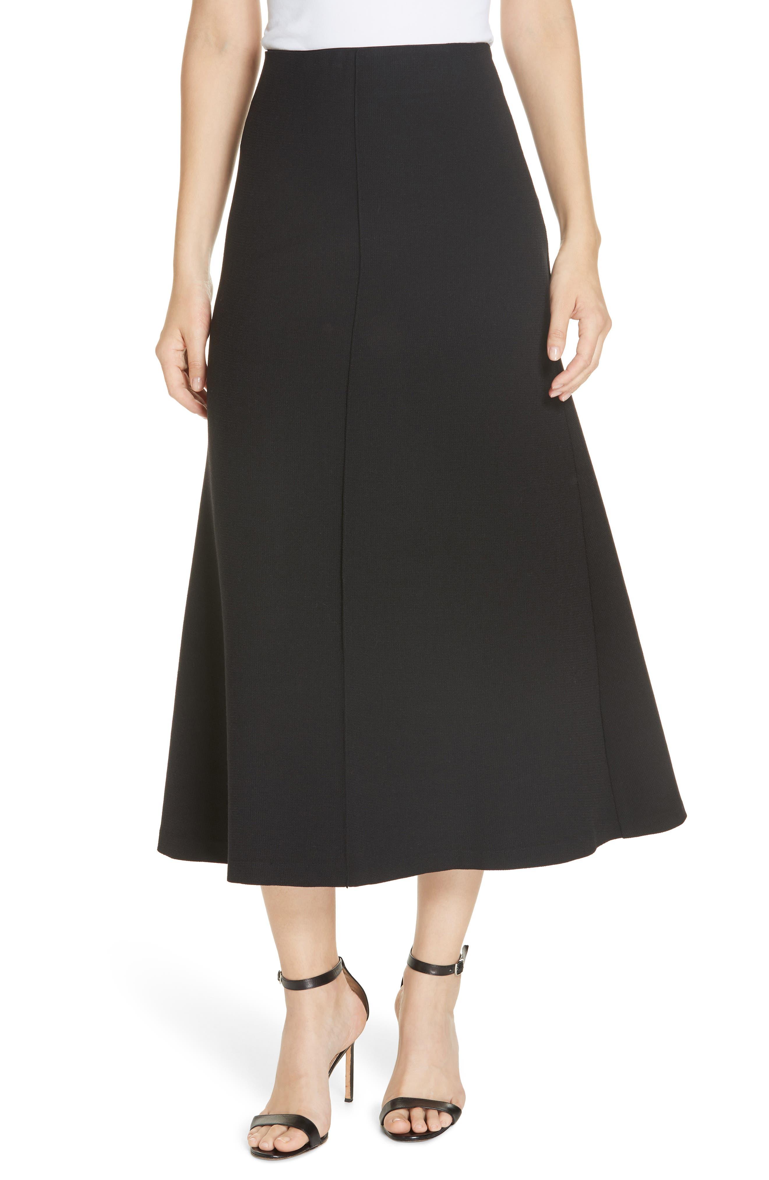 Fit & Flare Midi Skirt,                             Main thumbnail 1, color,                             BLACK PIQUE