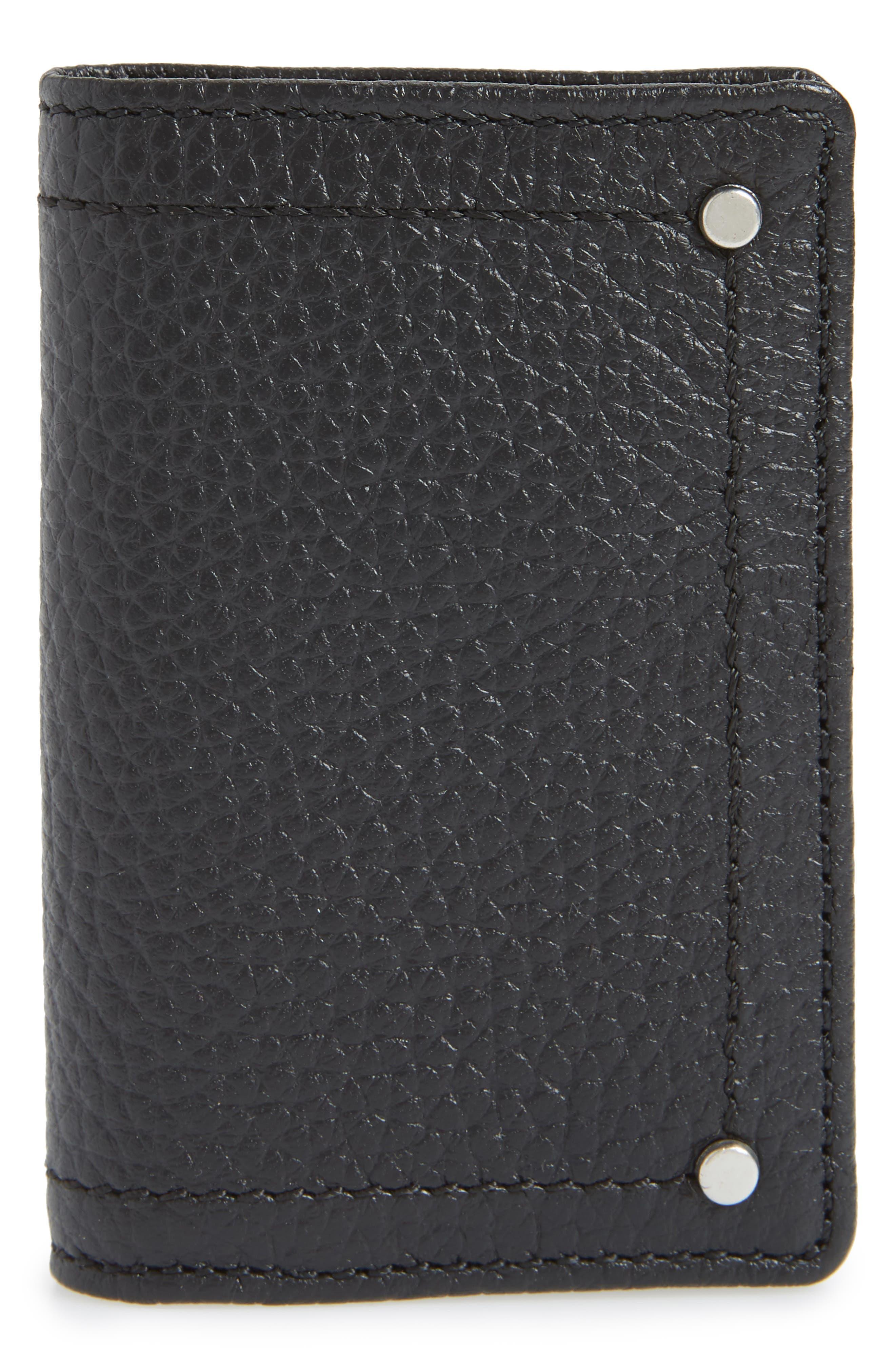 Devon Pebbled Leather Card Case,                         Main,                         color, BLACK