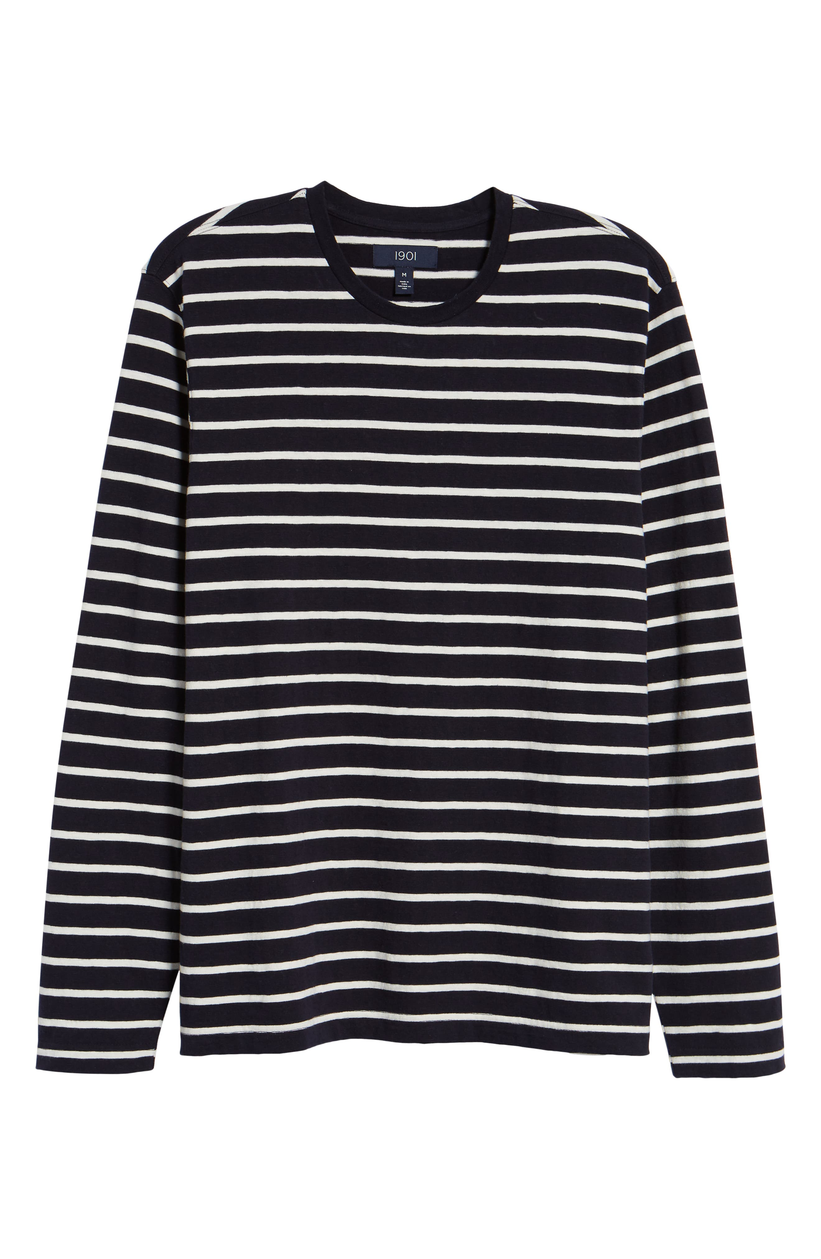Stripe Long Sleeve T-Shirt,                             Alternate thumbnail 6, color,                             NAVY NIGHT ECRU STRIPE