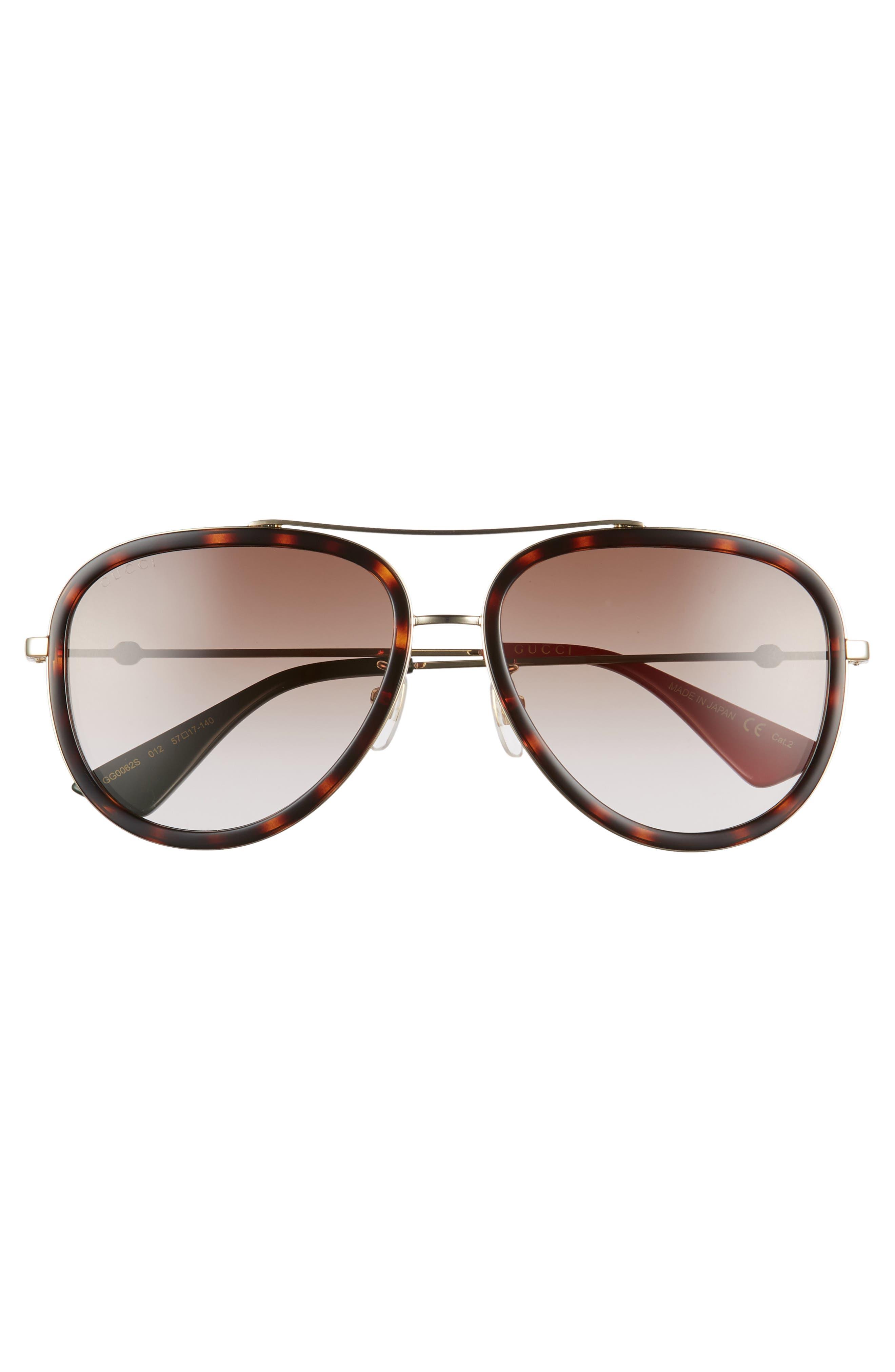 57mm Aviator Sunglasses,                             Alternate thumbnail 3, color,                             GOLD/ RED/ GREEN