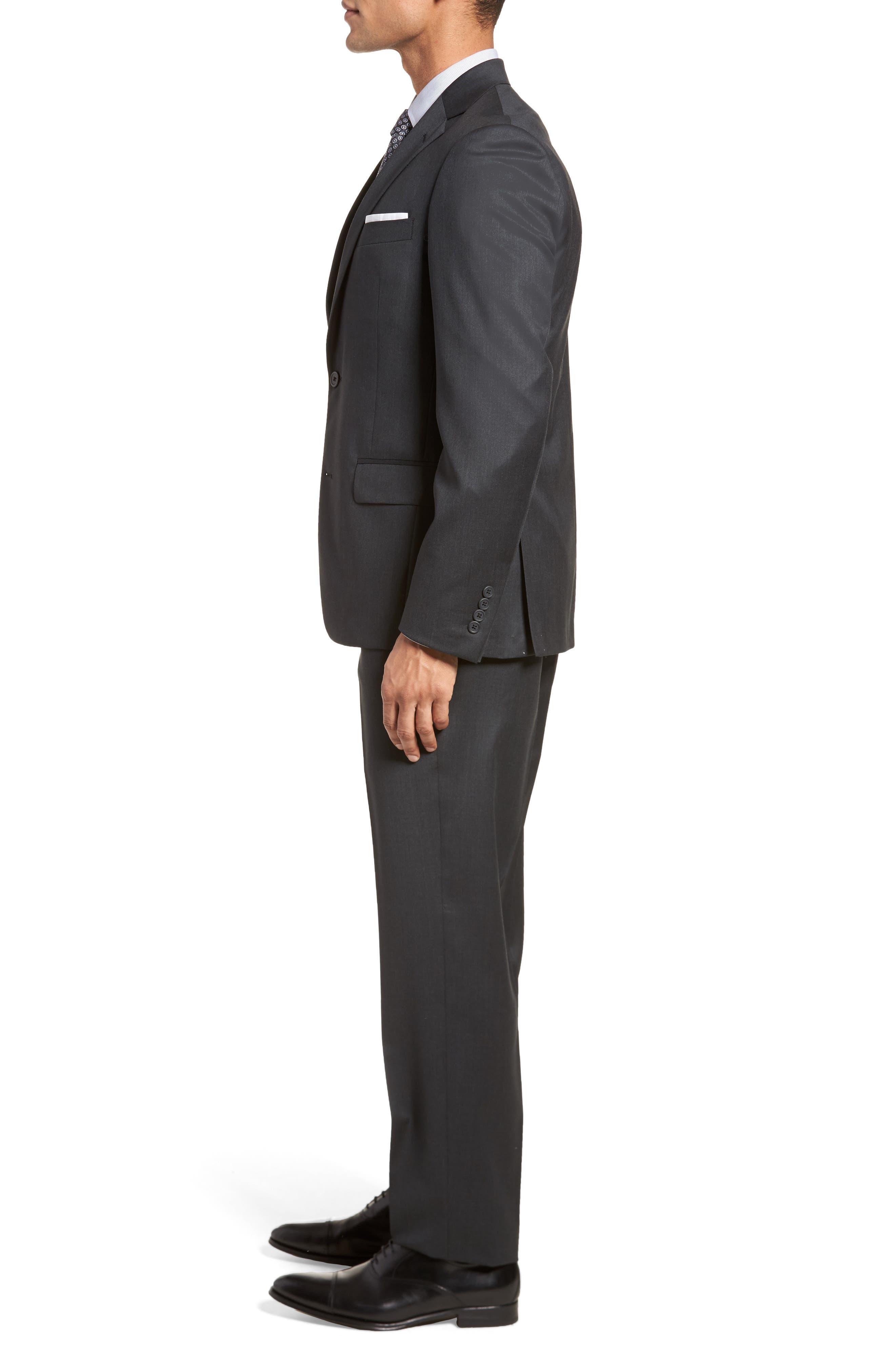Trim Fit Solid Wool Suit,                             Alternate thumbnail 3, color,                             021