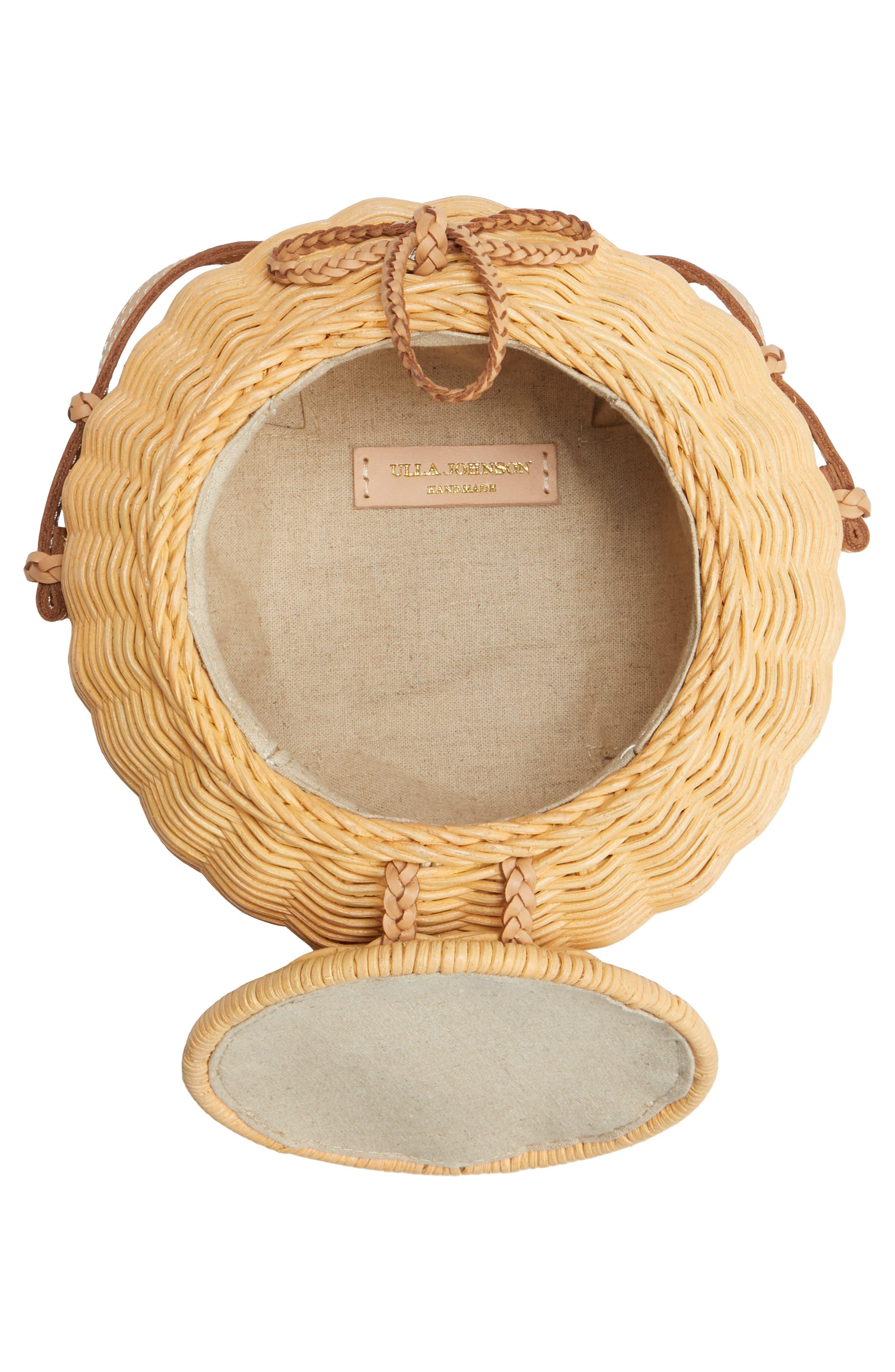 ULLA JOHNSON,                             Pomme Woven Rattan Shoulder Bag,                             Alternate thumbnail 4, color,                             NATURAL