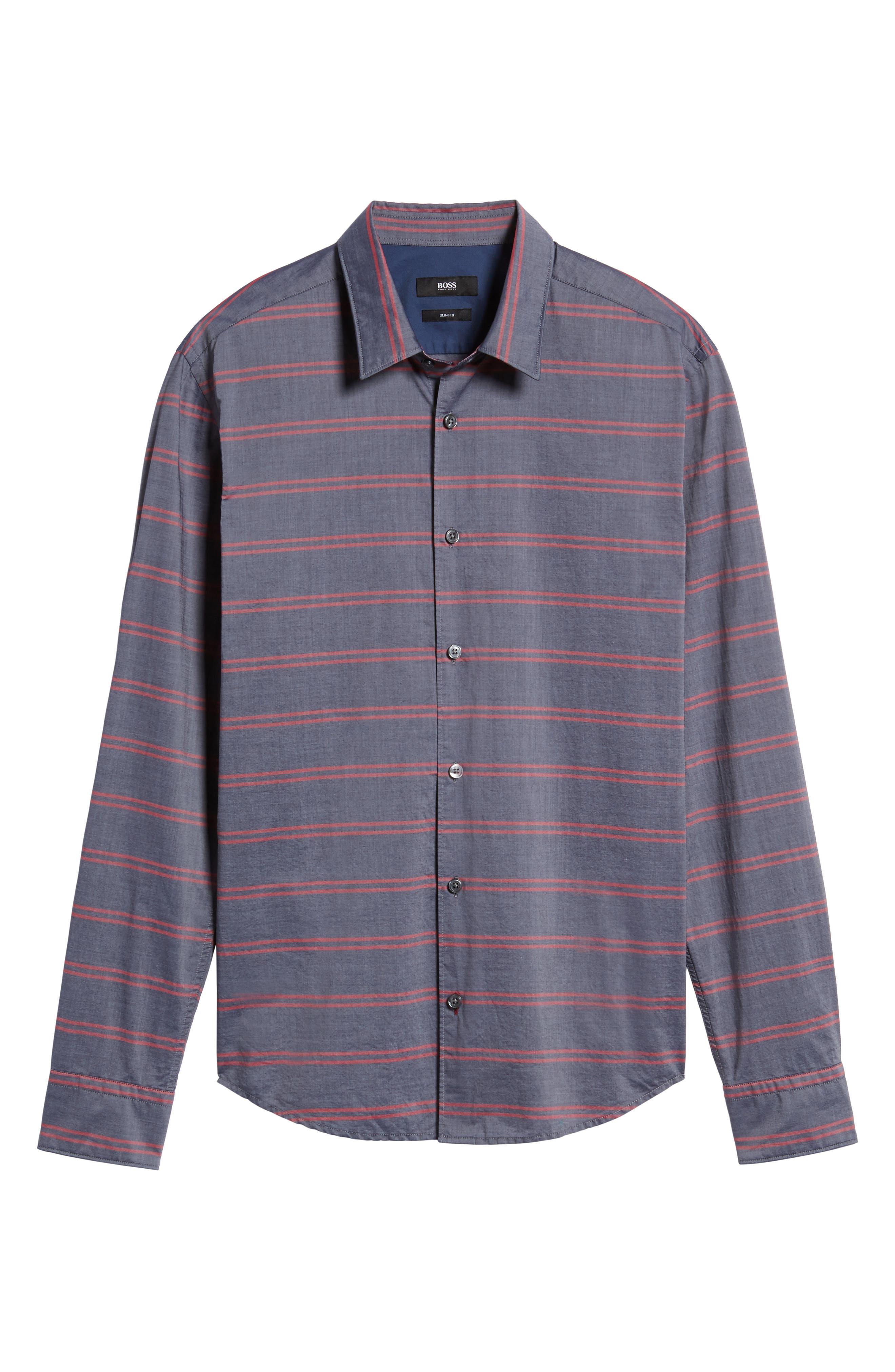 Reid Slim Fit Stripe Sport Shirt,                             Alternate thumbnail 6, color,                             411