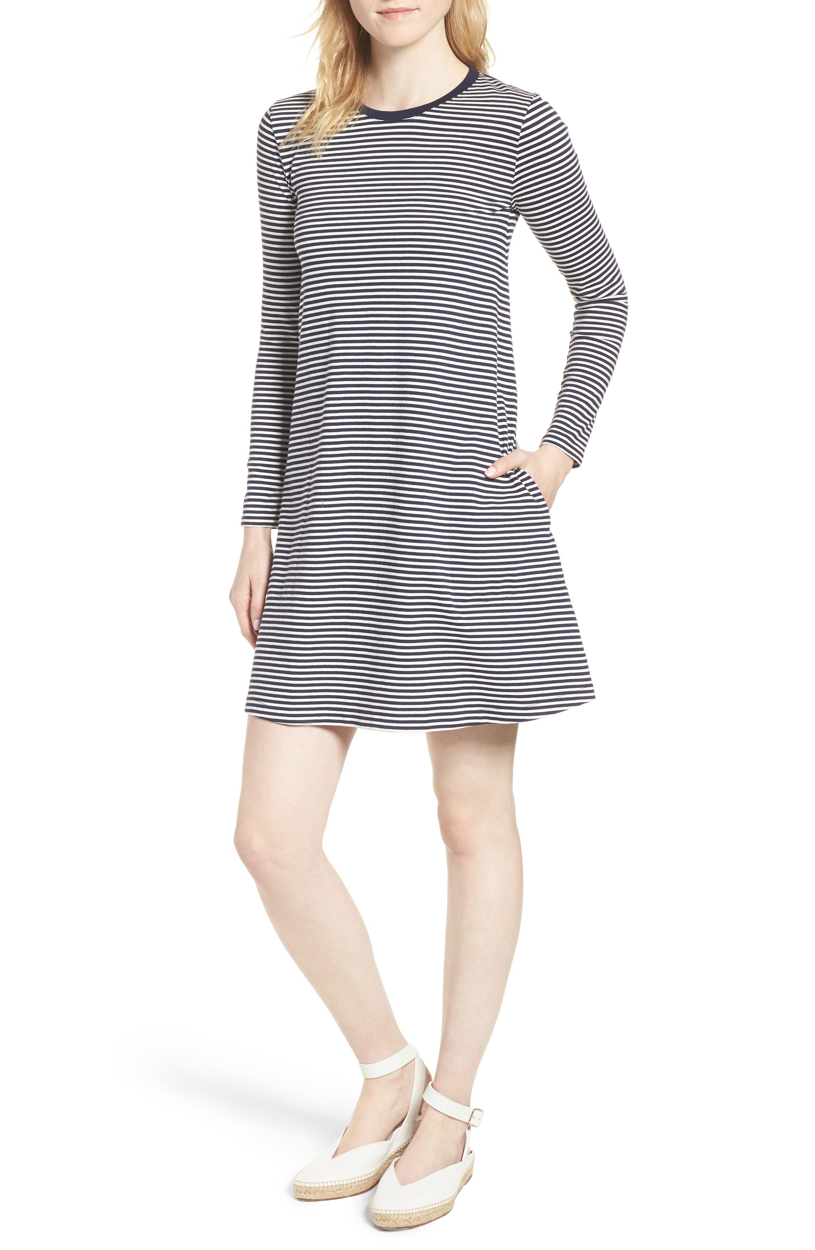 Easy Pocket Cotton Knit Stripe Dress,                             Main thumbnail 1, color,