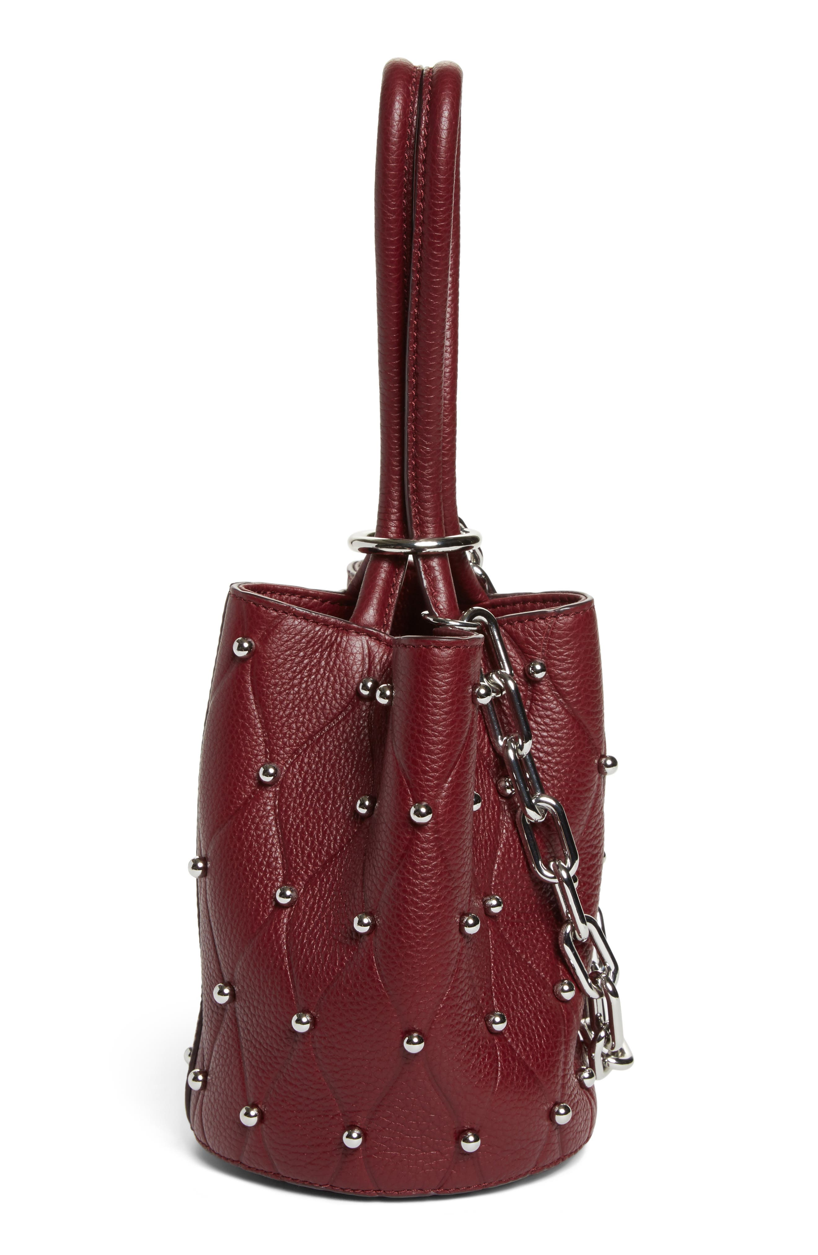 Mini Roxy Studded Leather Bucket Bag,                             Alternate thumbnail 5, color,                             616