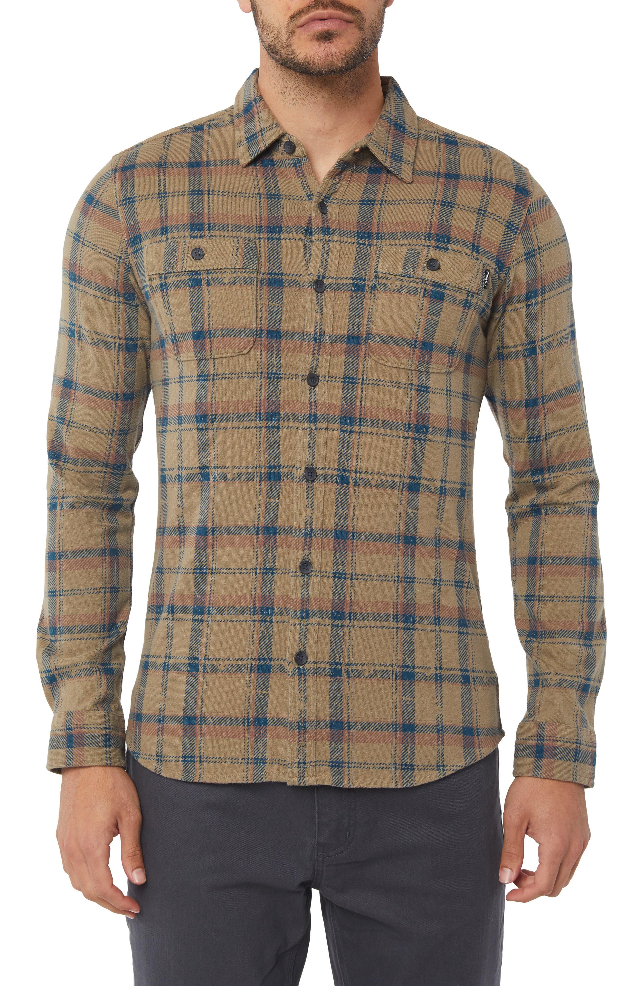 Fisher Plaid Knit Shirt,                         Main,                         color, KHAKI