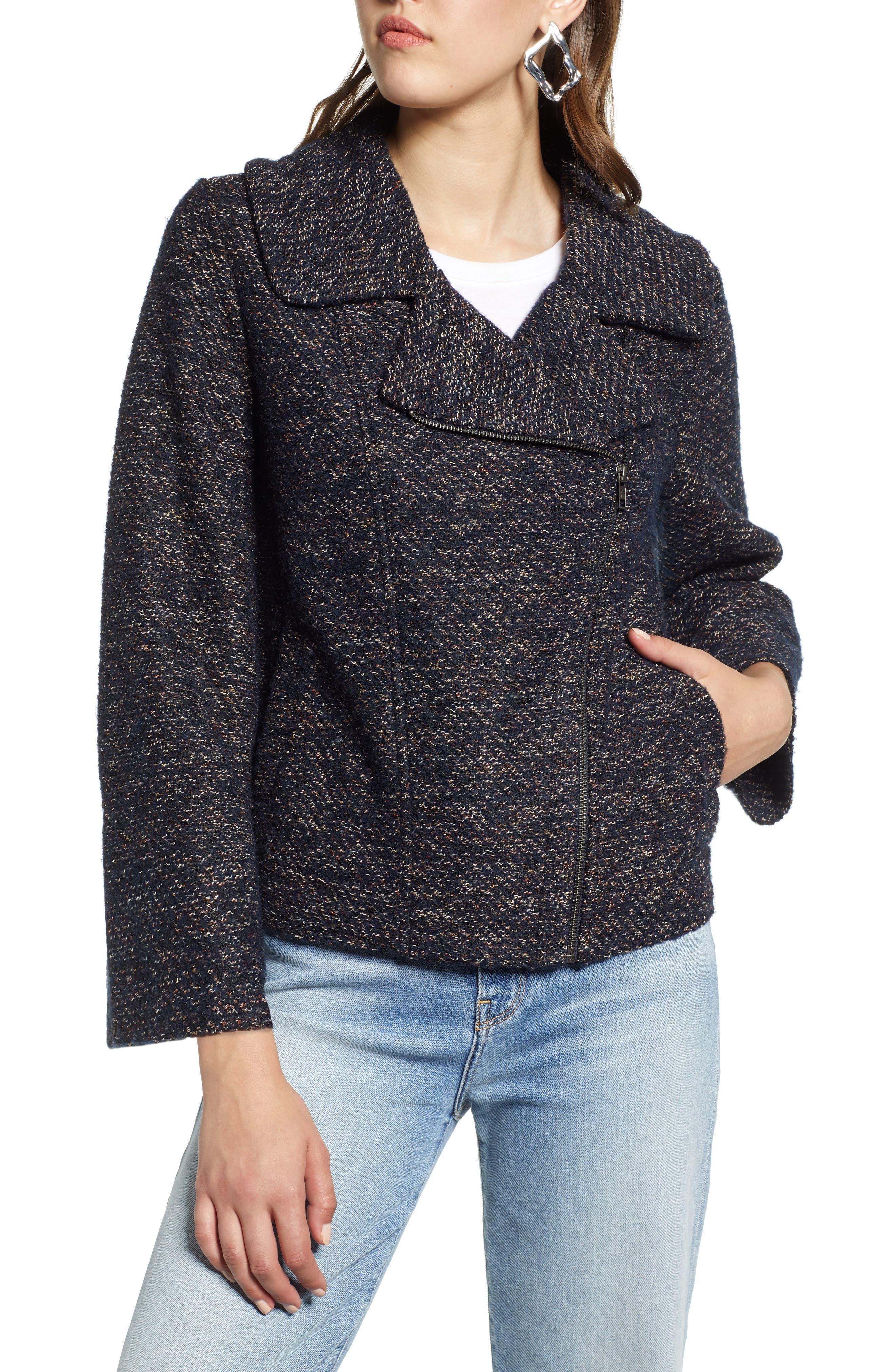 Tweed Moto Jacket,                             Alternate thumbnail 4, color,                             NAVY SPECKLE