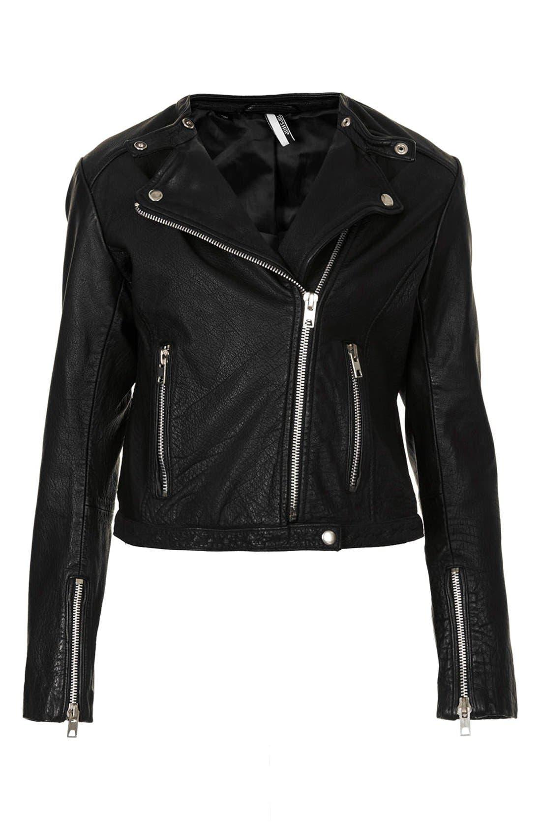 Collarless Leather Biker Jacket,                         Main,                         color, 001