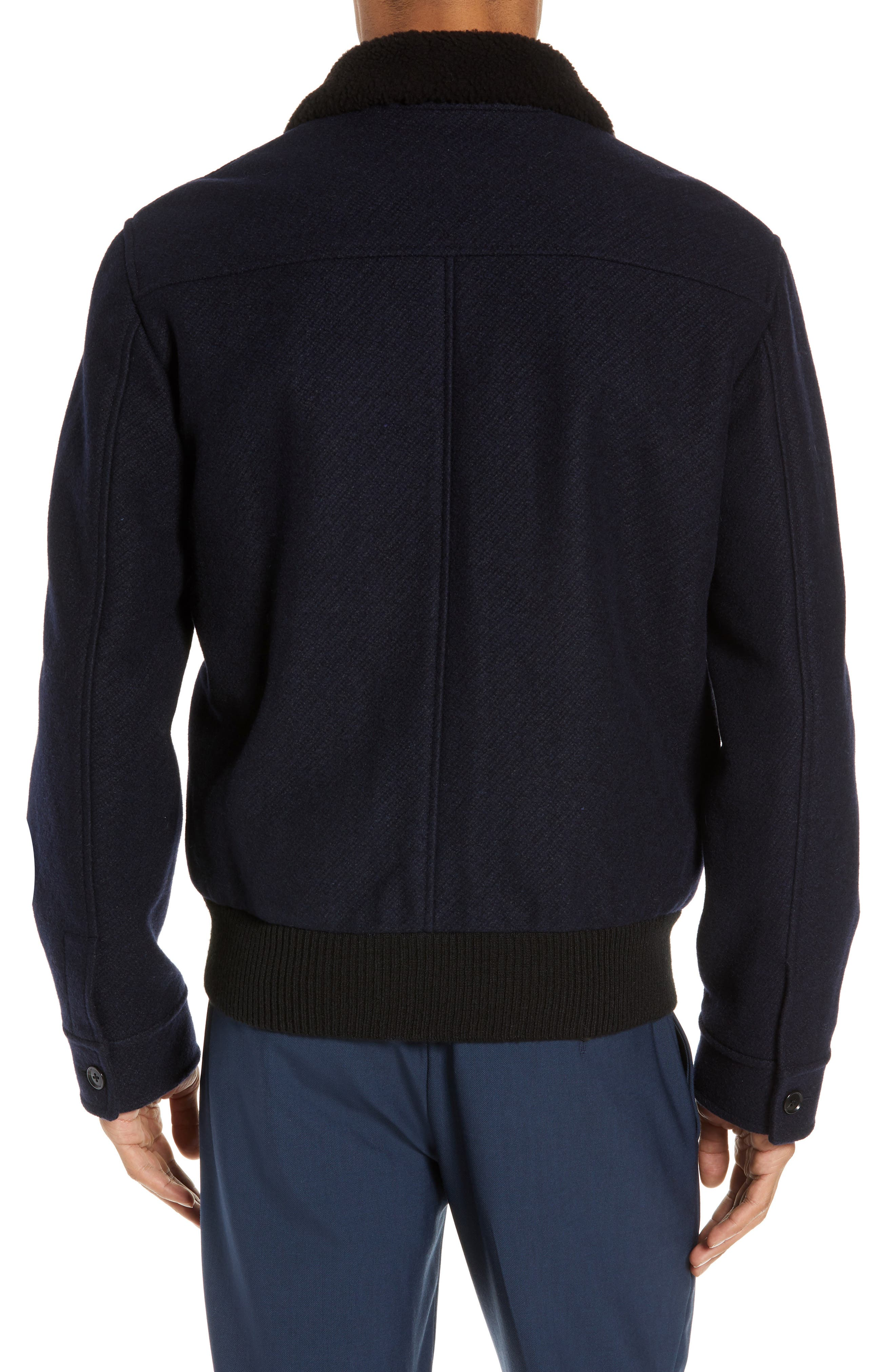 Trim Fit Bomber Jacket with Genuine Shearling Collar,                             Alternate thumbnail 2, color,                             NAVY