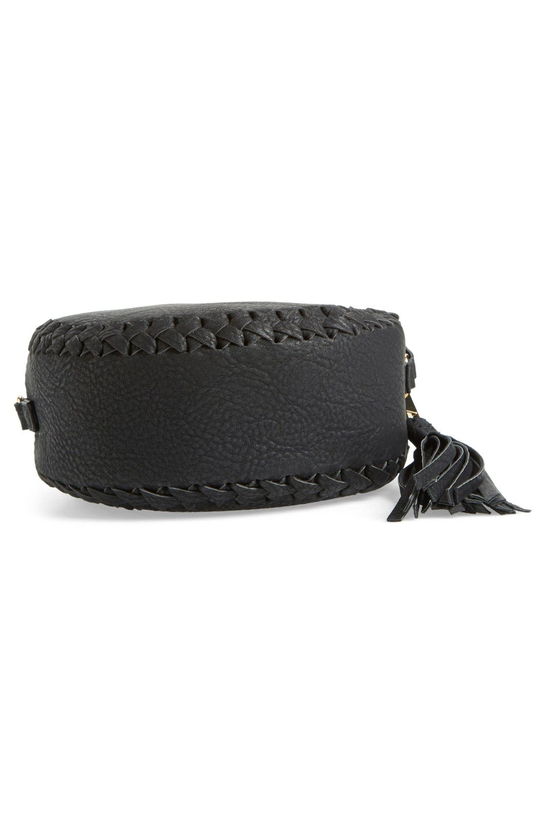 Faux Leather Round Crossbody Bag,                             Alternate thumbnail 2, color,                             001