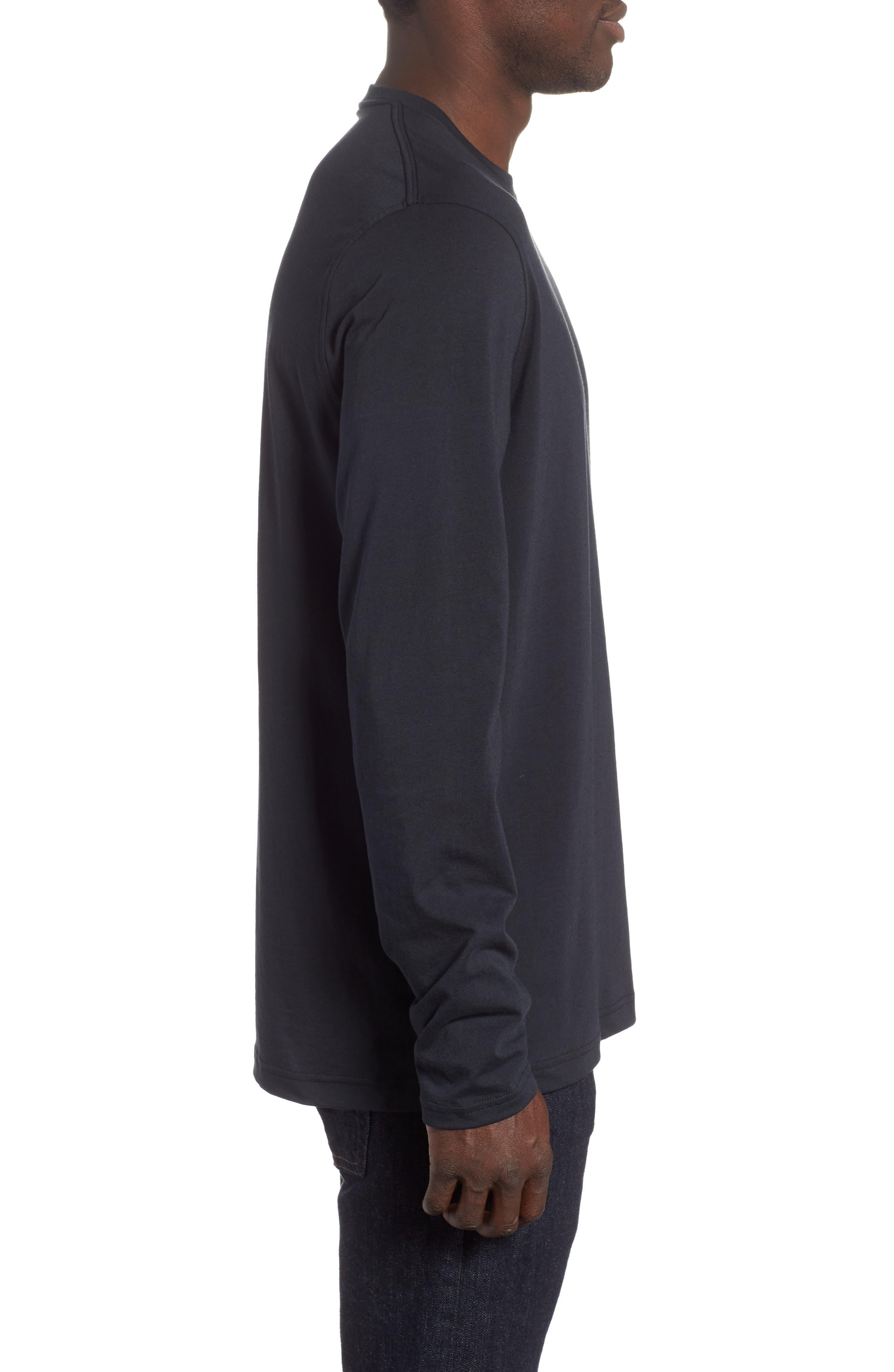 HeatGear<sup>®</sup> Long Sleeve Performance T-Shirt,                             Alternate thumbnail 3, color,                             BLACK/ STEEL