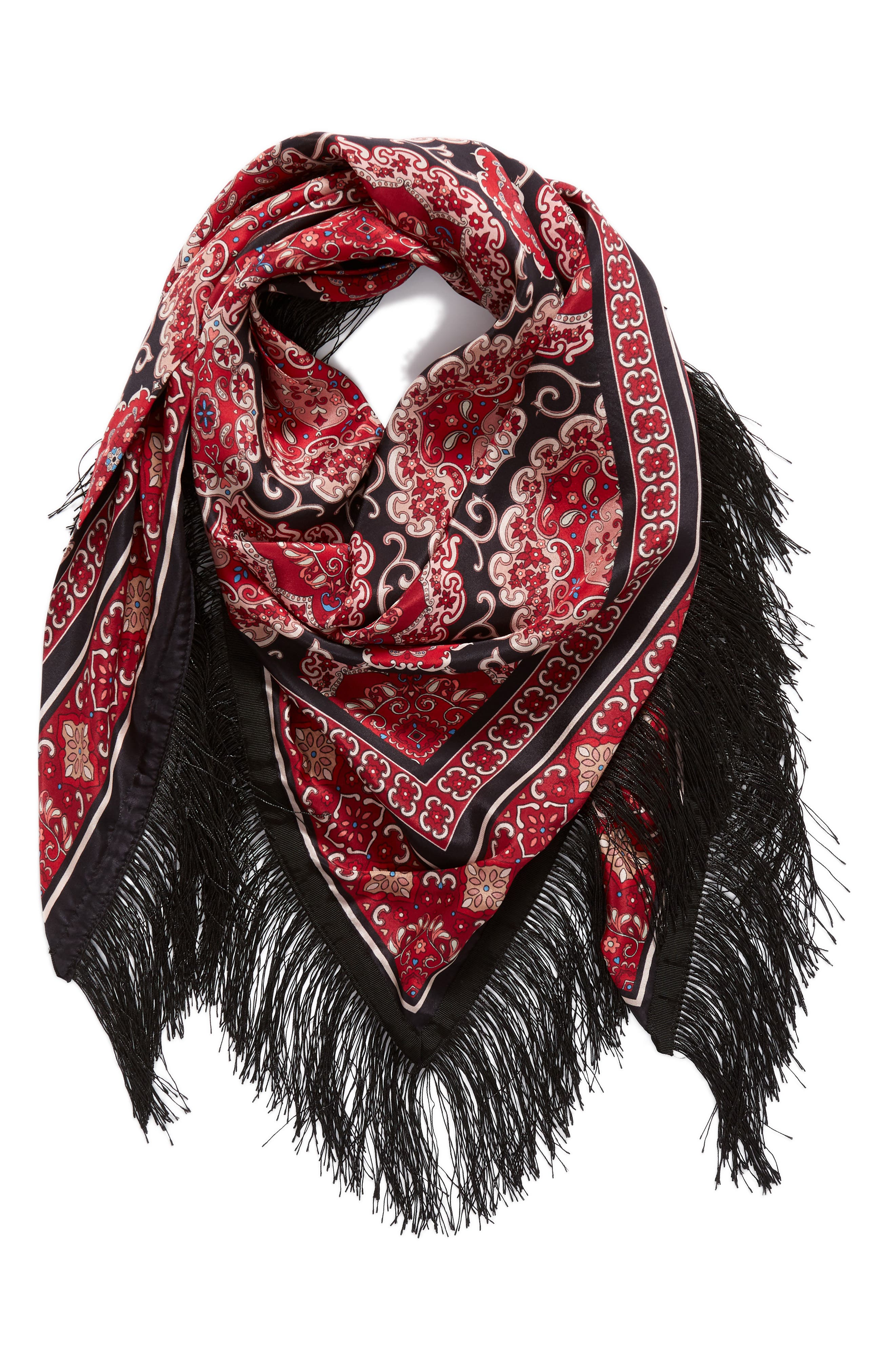 medallion piano shawl,                             Alternate thumbnail 3, color,                             BLACK