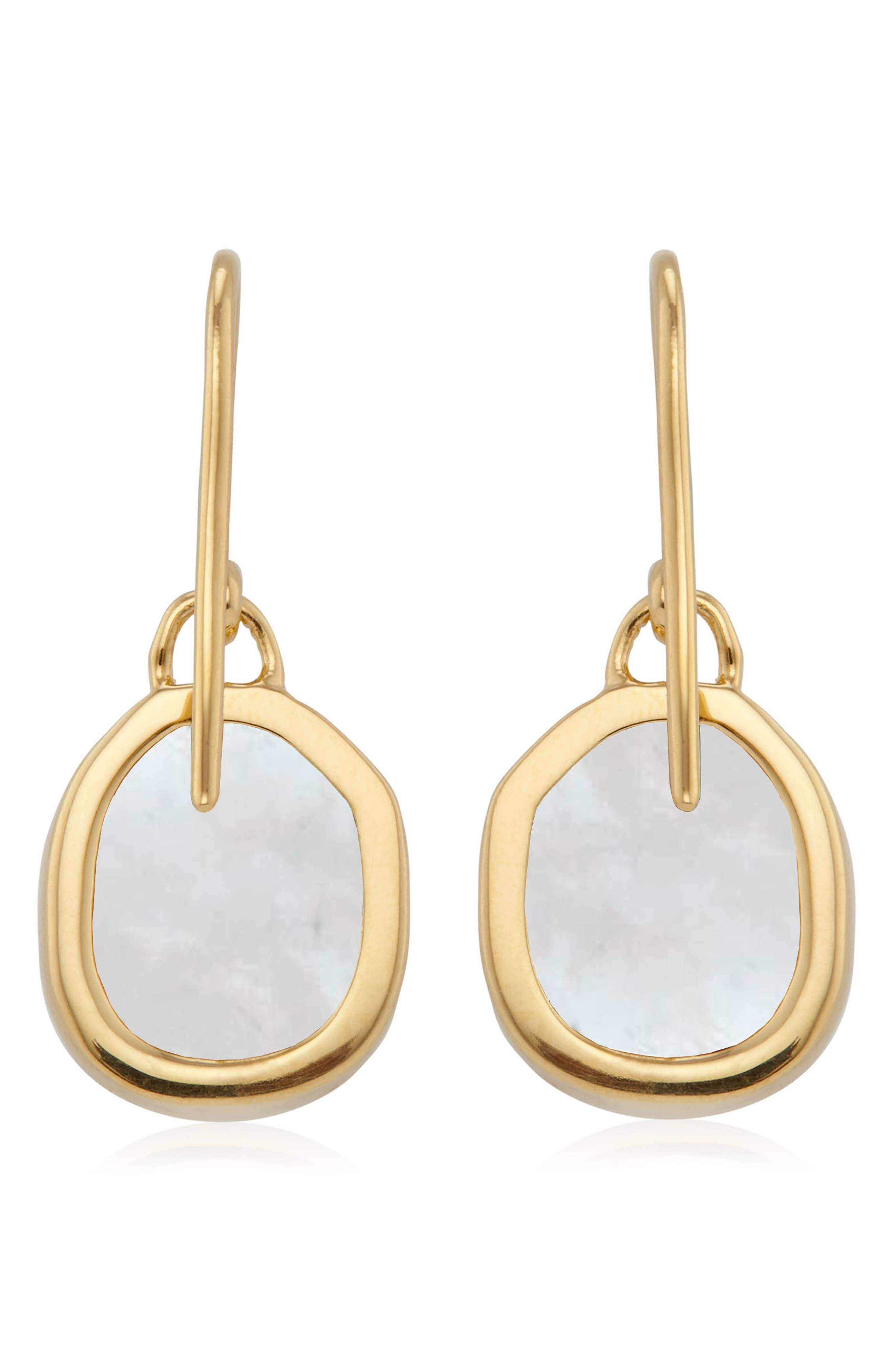 Siren Bezel Set Onyx Earrings,                             Alternate thumbnail 3, color,                             GOLD/ MOONSTONE