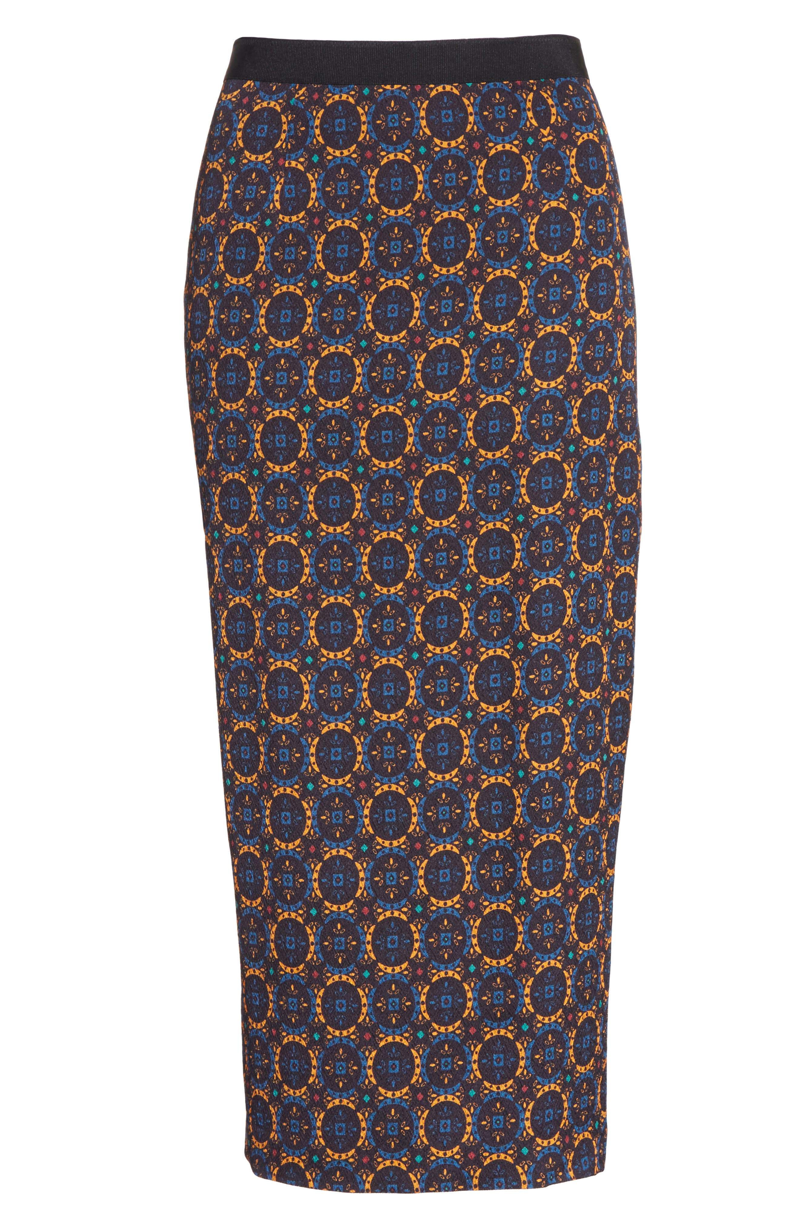 Print Stretch Silk Pencil Skirt,                             Alternate thumbnail 6, color,                             436