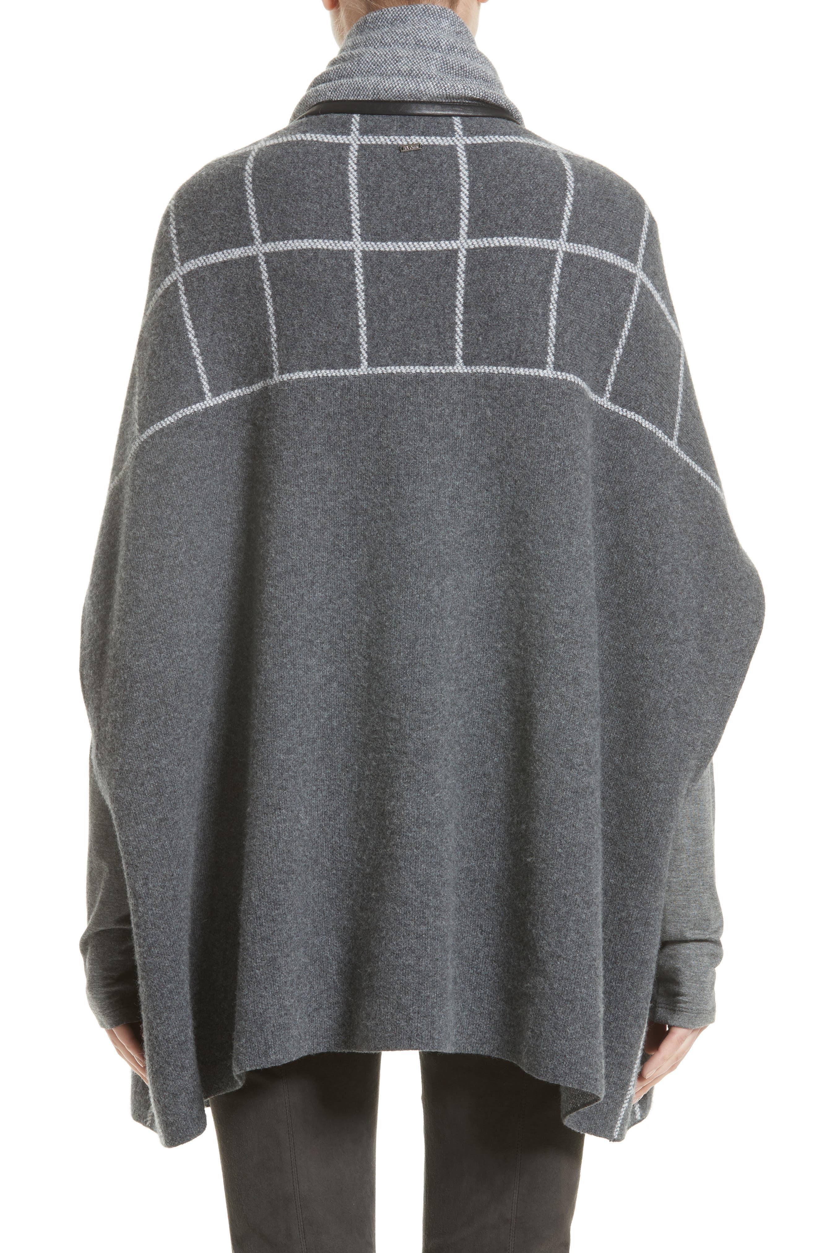 Leather Trim Windowpane Felted Wool Blend Cardigan,                             Alternate thumbnail 2, color,