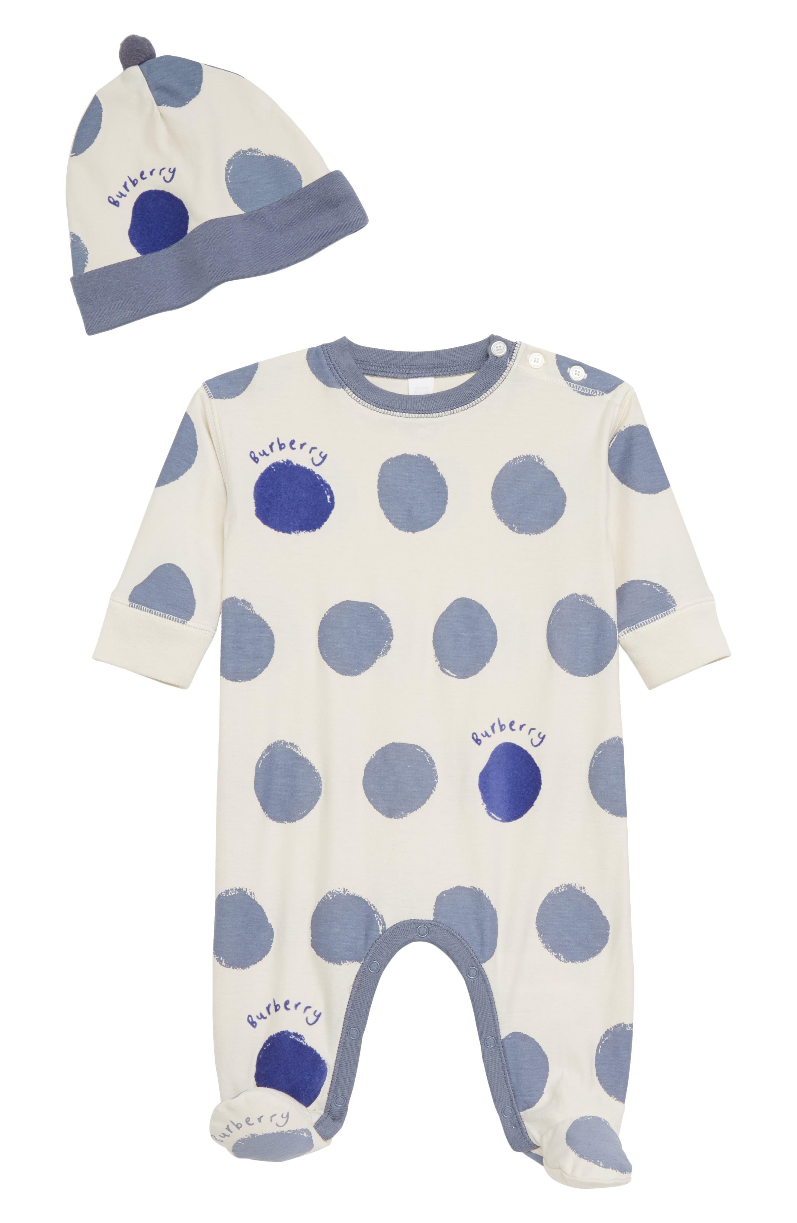 BURBERRY Dots Footie & Hat Set, Main, color, 100