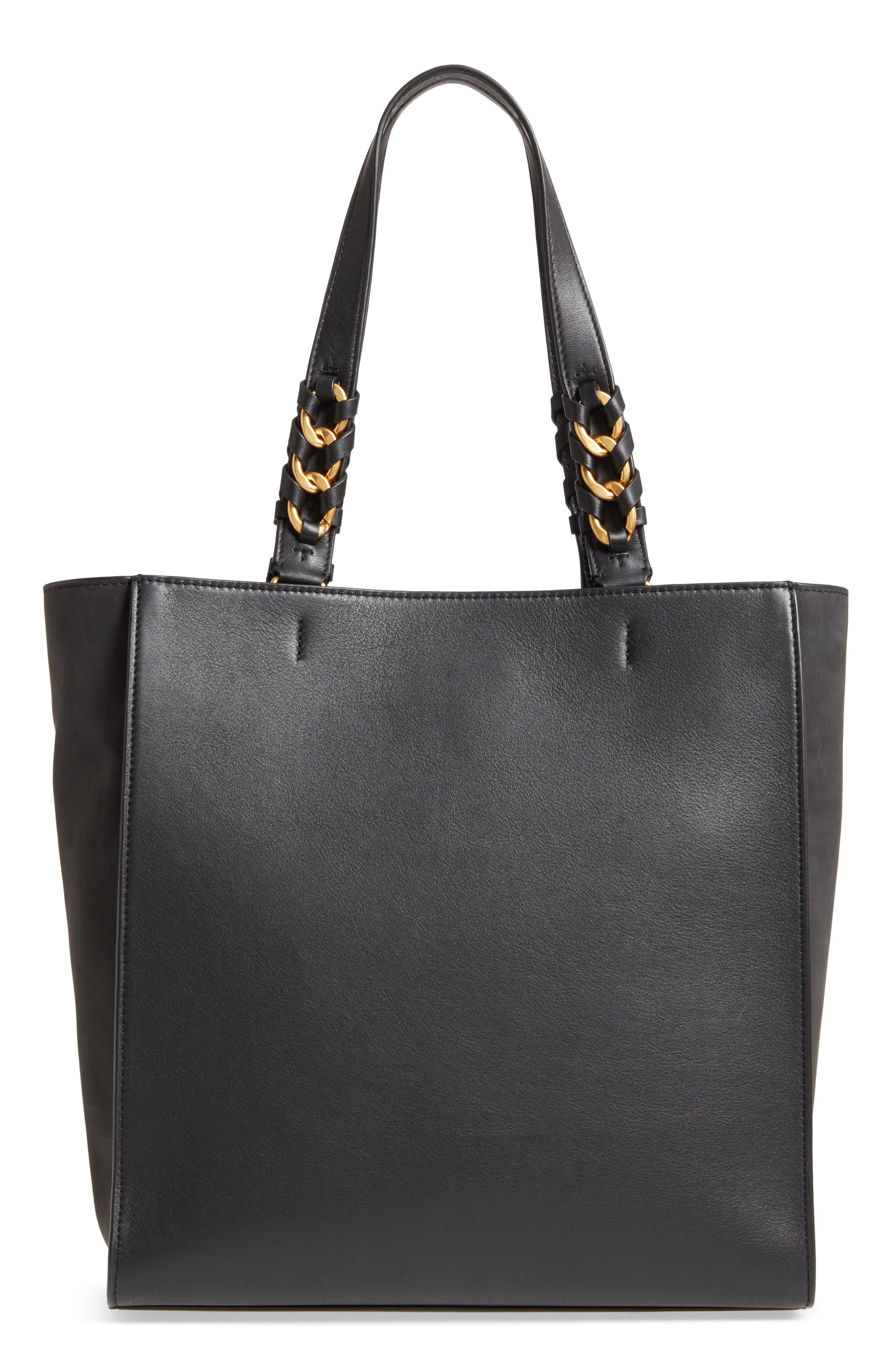 Brooke Leather Tote,                             Alternate thumbnail 3, color,                             001