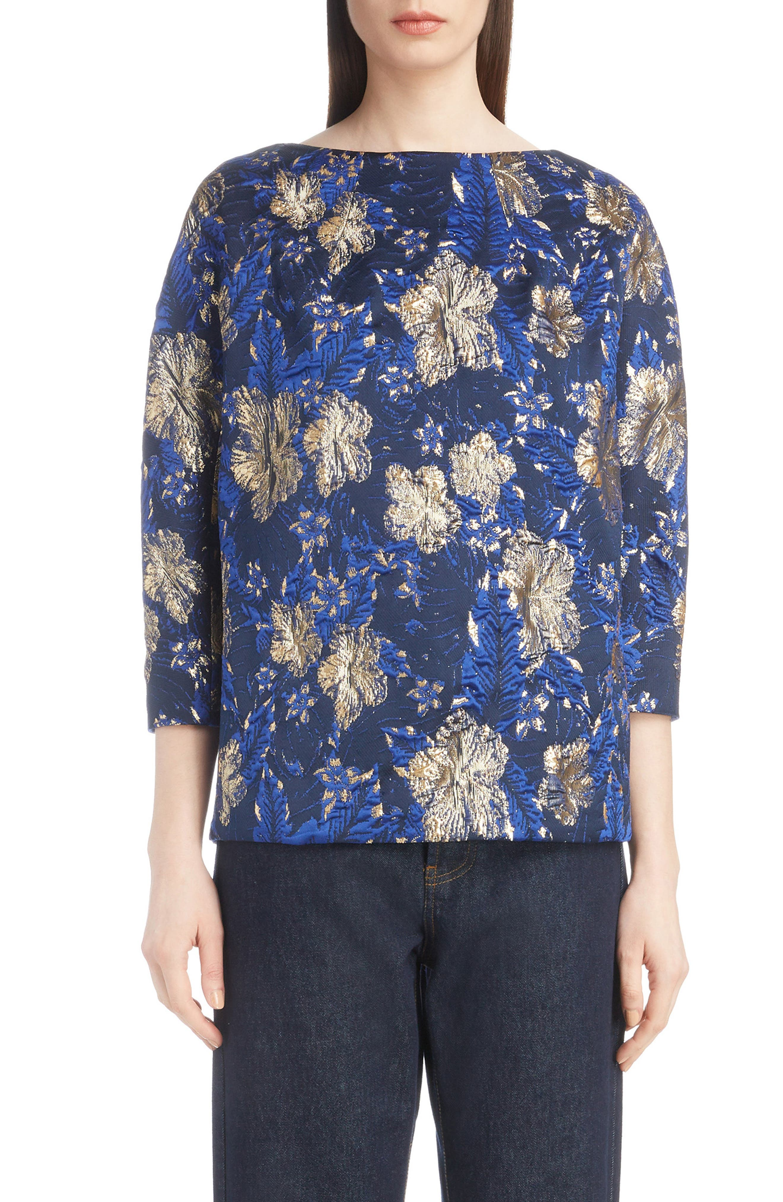 Metallic Floral Jacquard Top,                         Main,                         color, BLUE