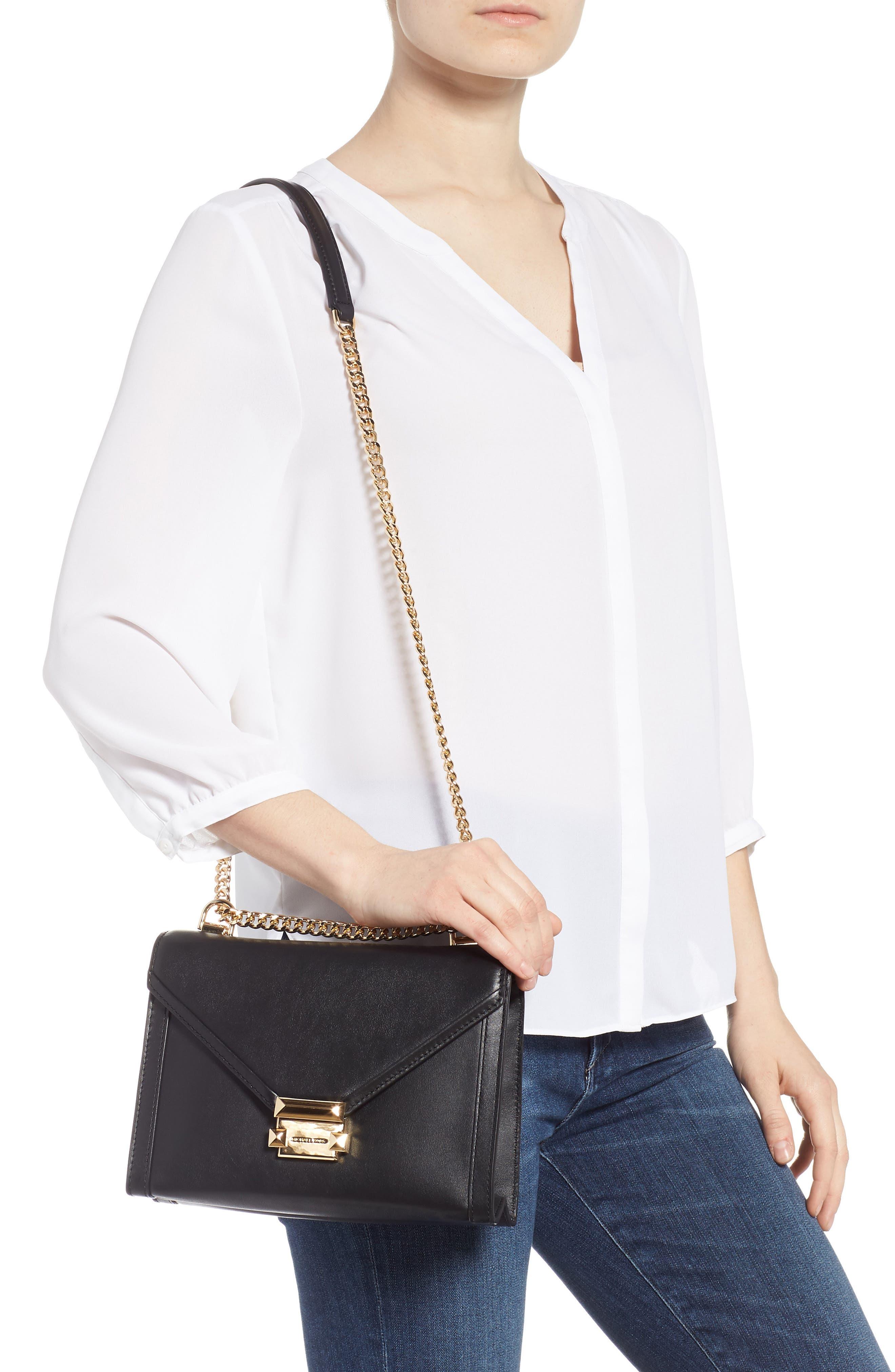MICHAEL MICHAEL KORS,                             Large Whitney Leather Shoulder Bag,                             Alternate thumbnail 2, color,                             BLACK