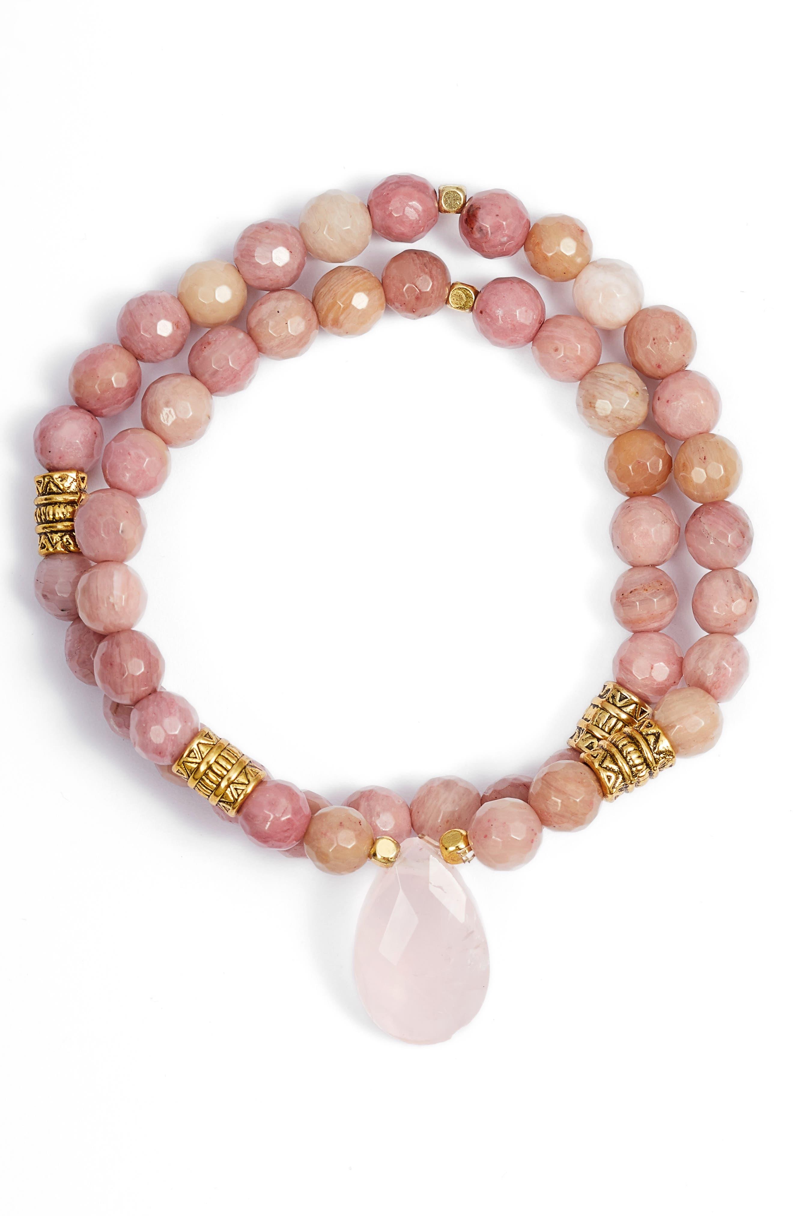 Inca Double Stretch Stone Bracelet,                             Main thumbnail 7, color,