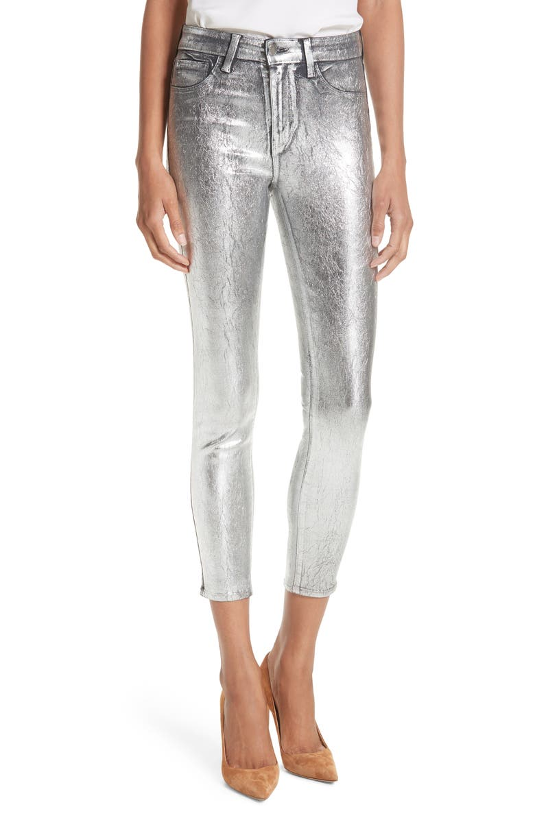 L'AGENCE Margot Metallic Coated Crop Skinny Jeans (Silver Foil) | Nordstrom