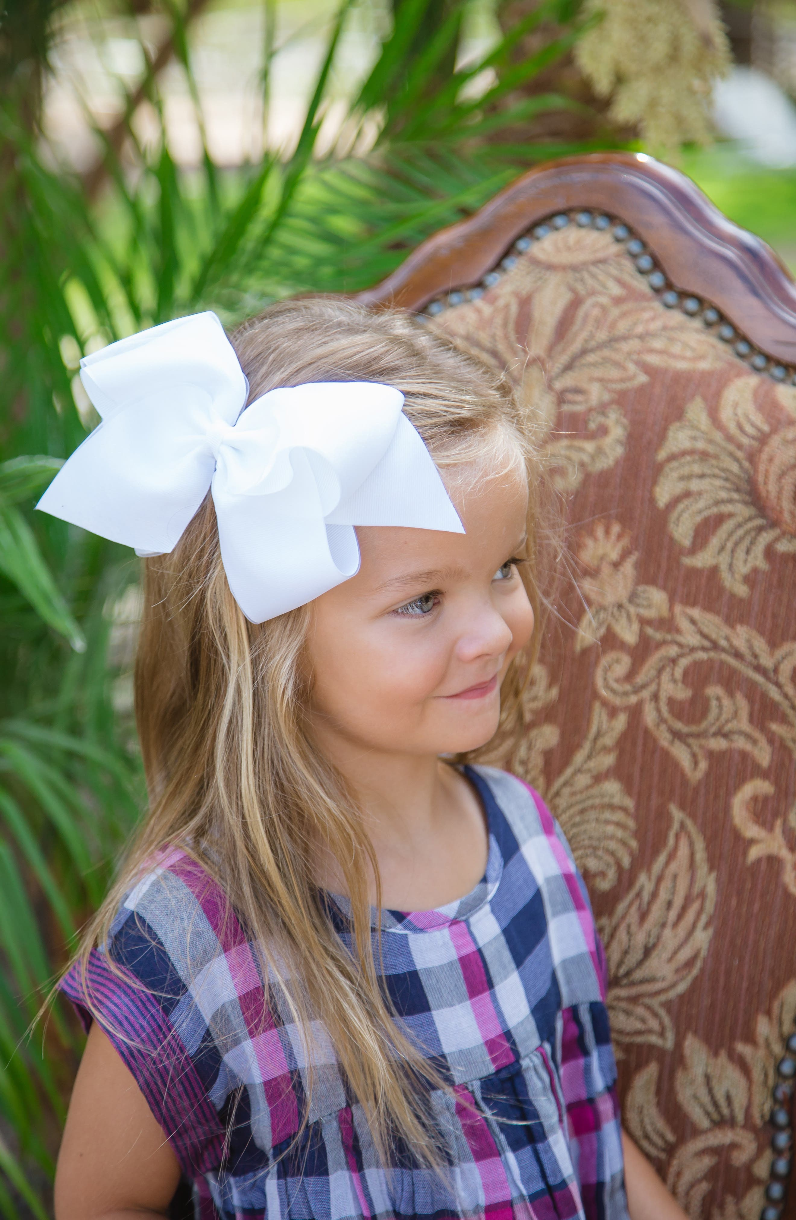 King Organza Overlay Bow Hair Clip,                             Alternate thumbnail 5, color,                             WHITE