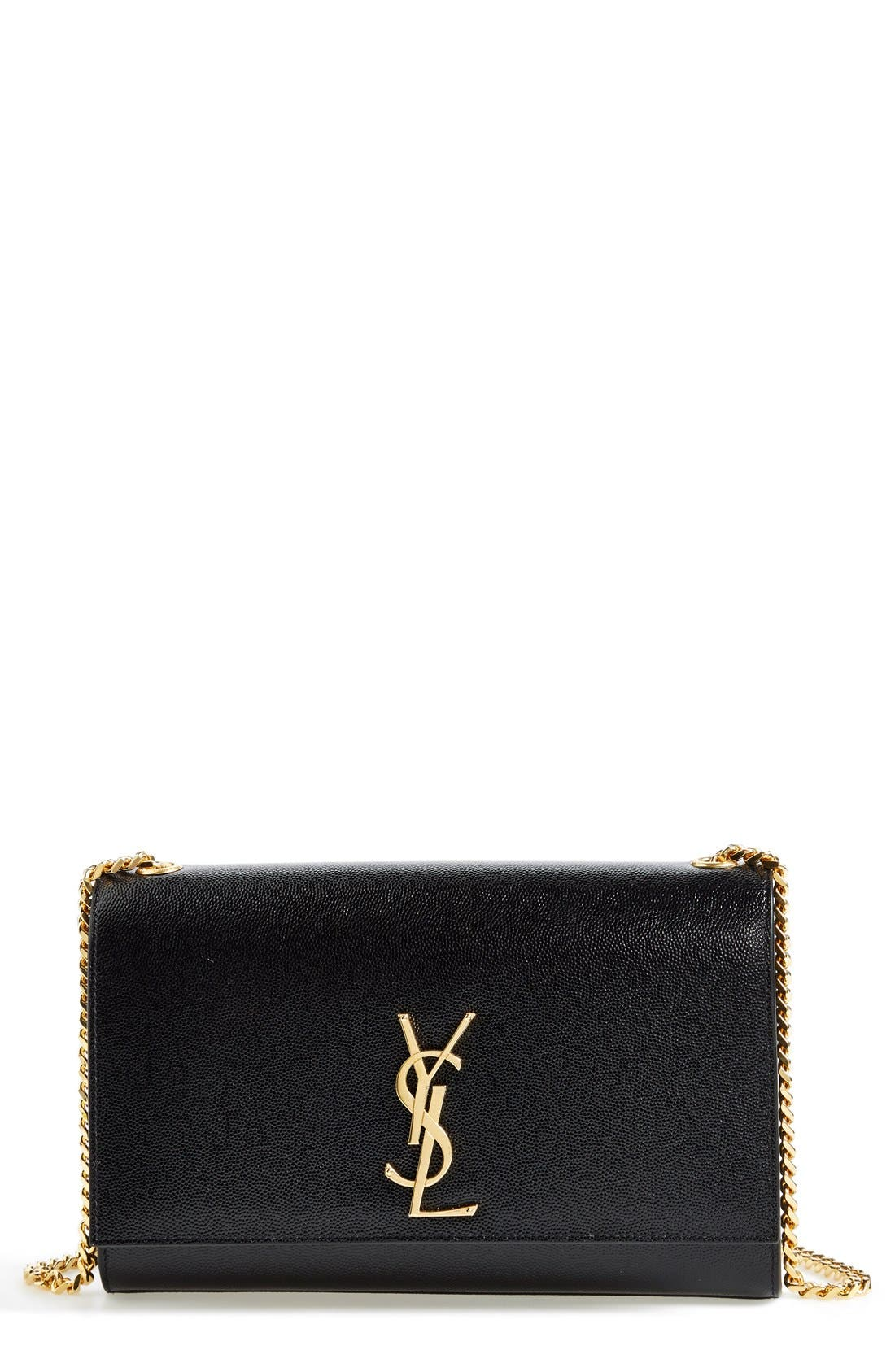 'Medium Kate' Leather Chain Shoulder Bag,                             Main thumbnail 1, color,                             NOIR