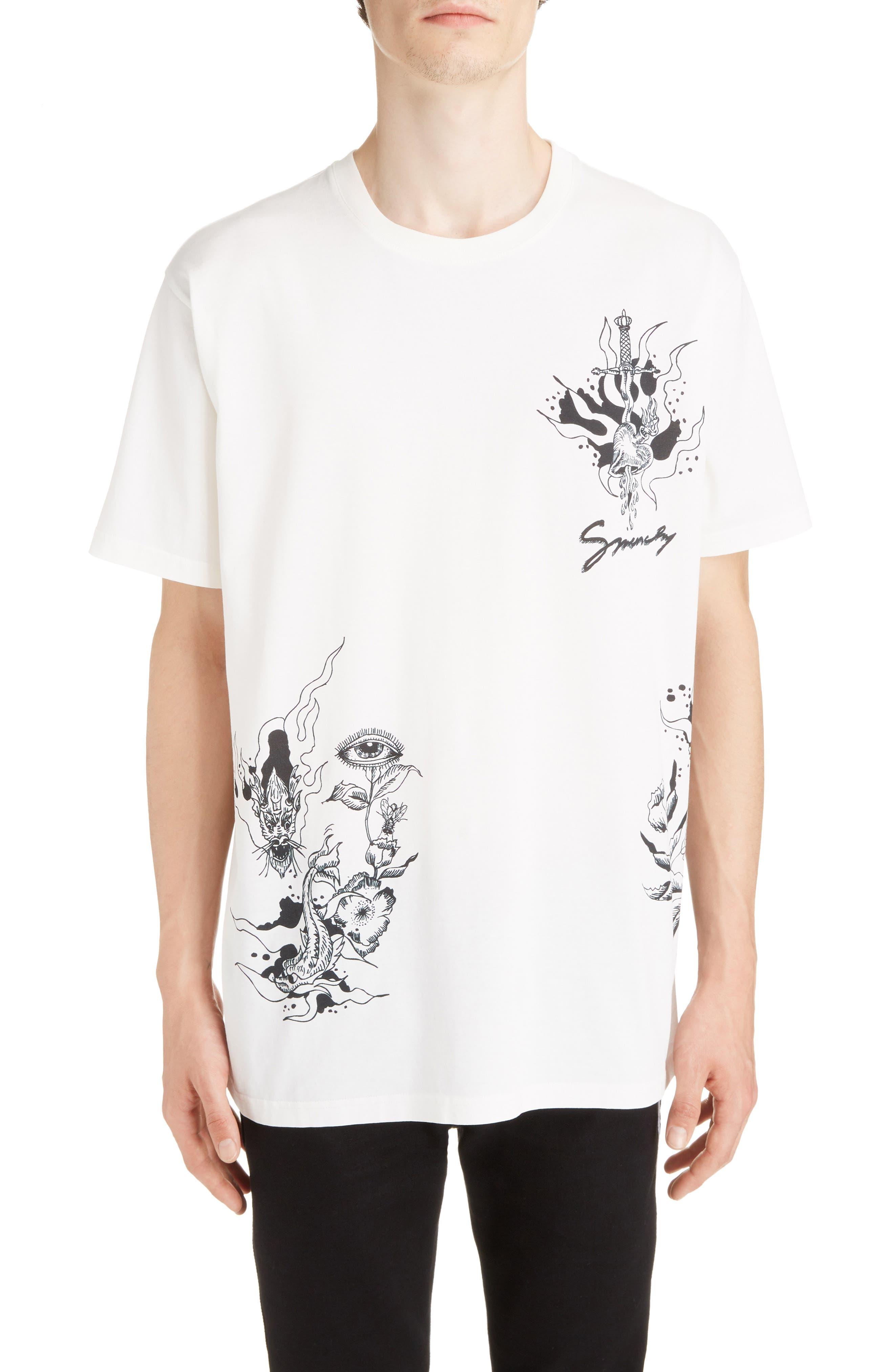 Dragon Print T-Shirt,                         Main,                         color, OFF WHITE