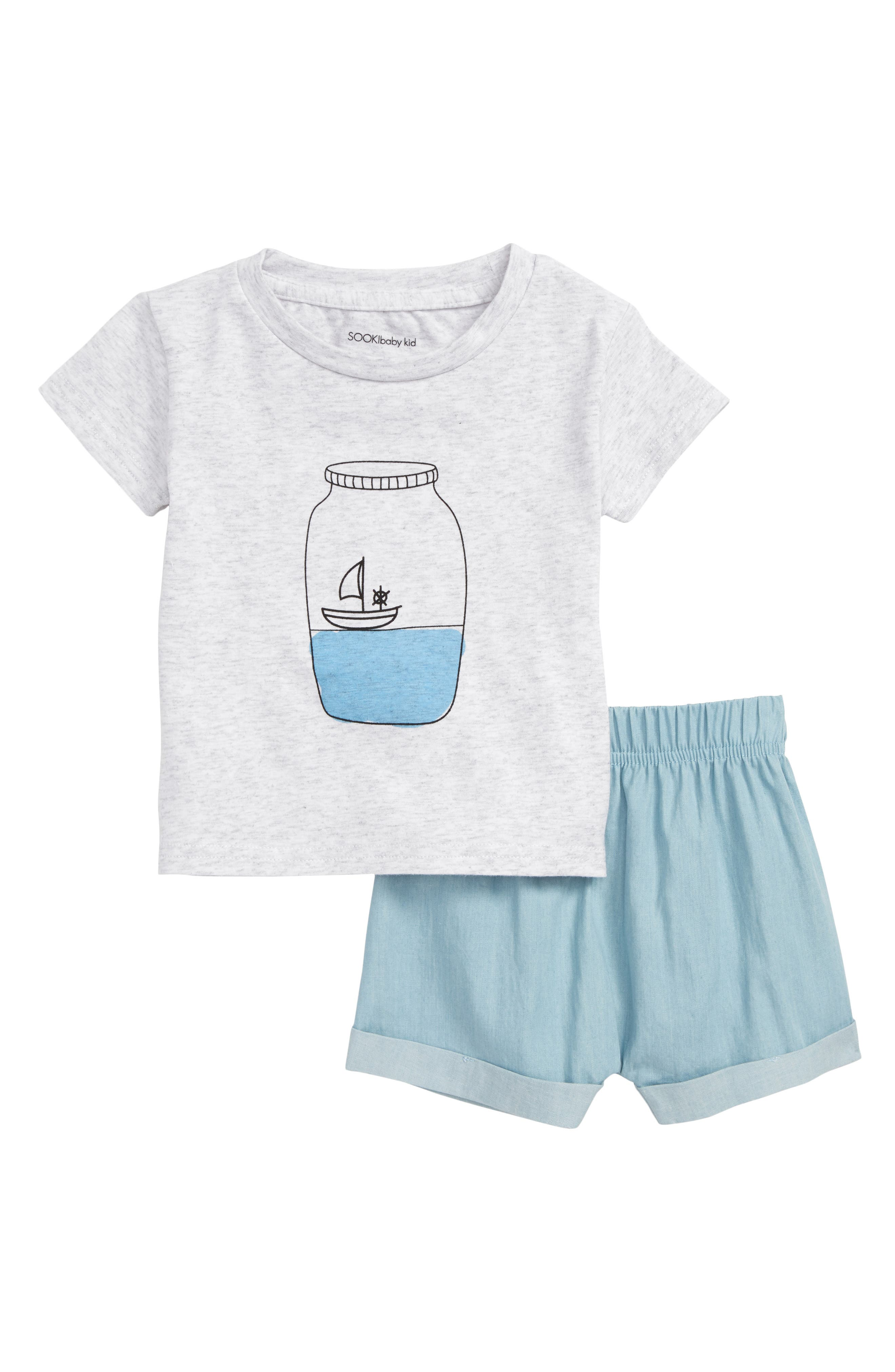 Message In a Bottle Shirt & Chambray Shorts Set,                             Main thumbnail 1, color,                             029