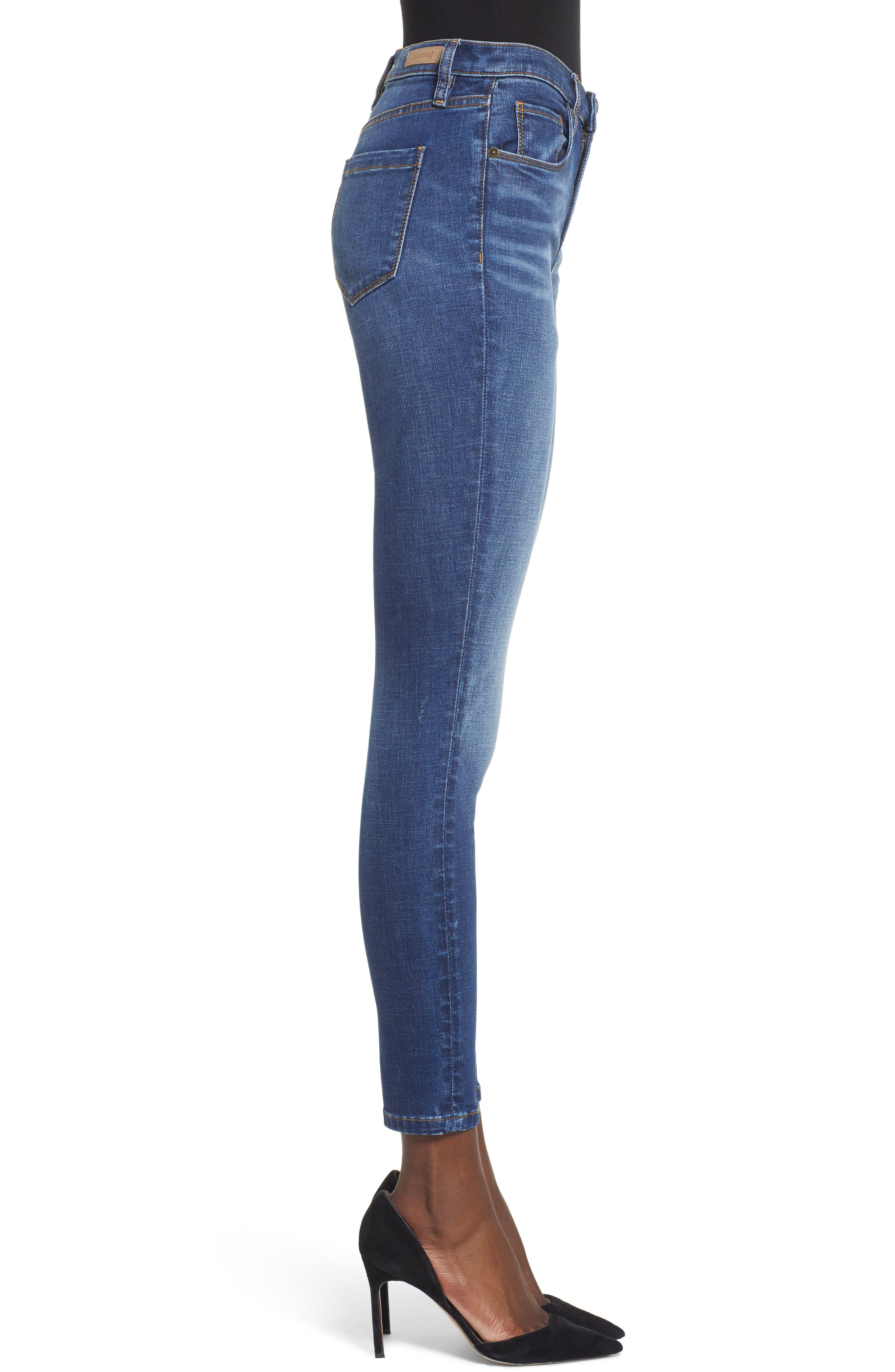 High Waist Skinny Jeans,                             Alternate thumbnail 3, color,                             ROUGH RIDER