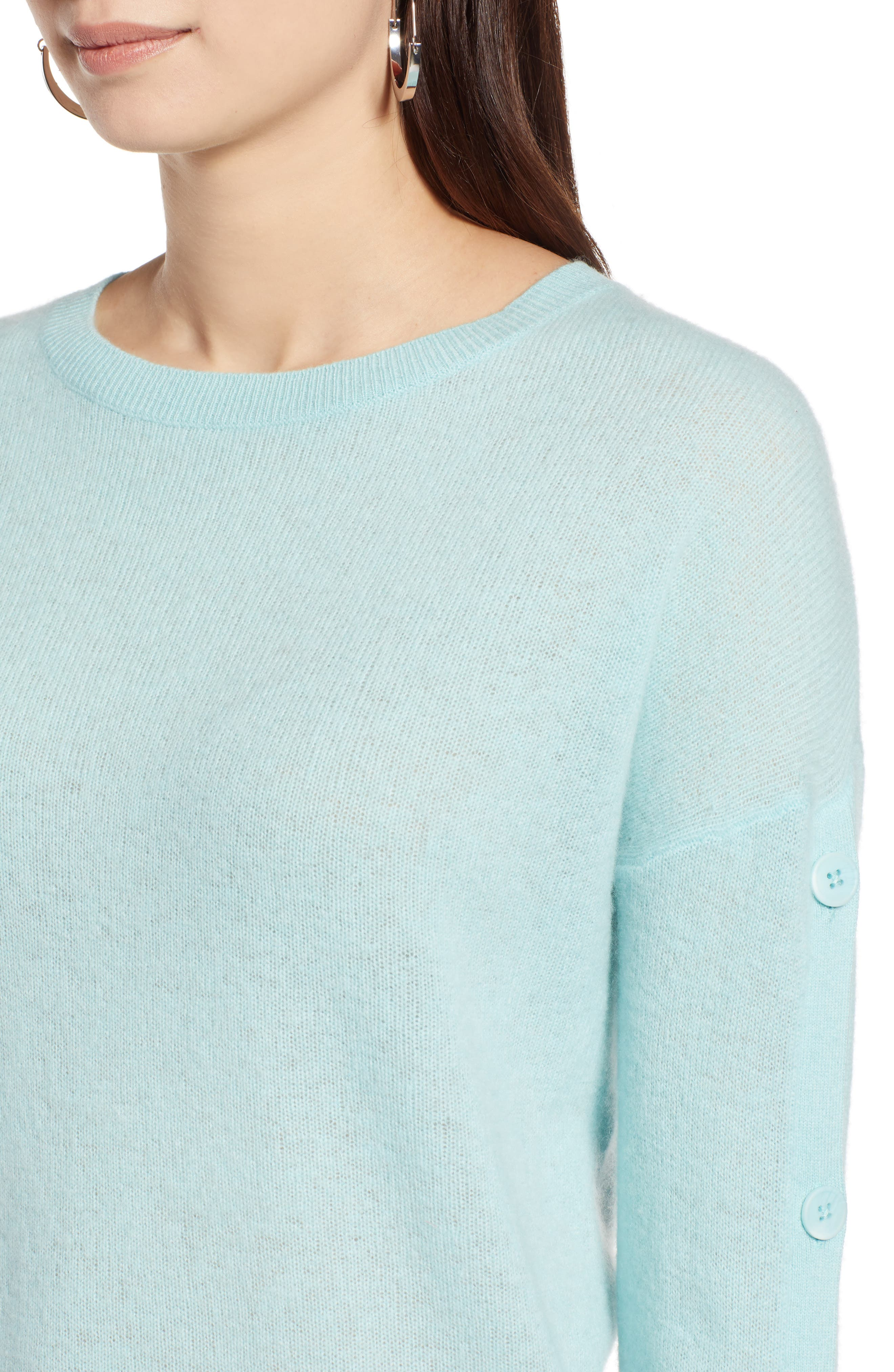 Cashmere Button Sleeve Sweater,                             Alternate thumbnail 4, color,                             450