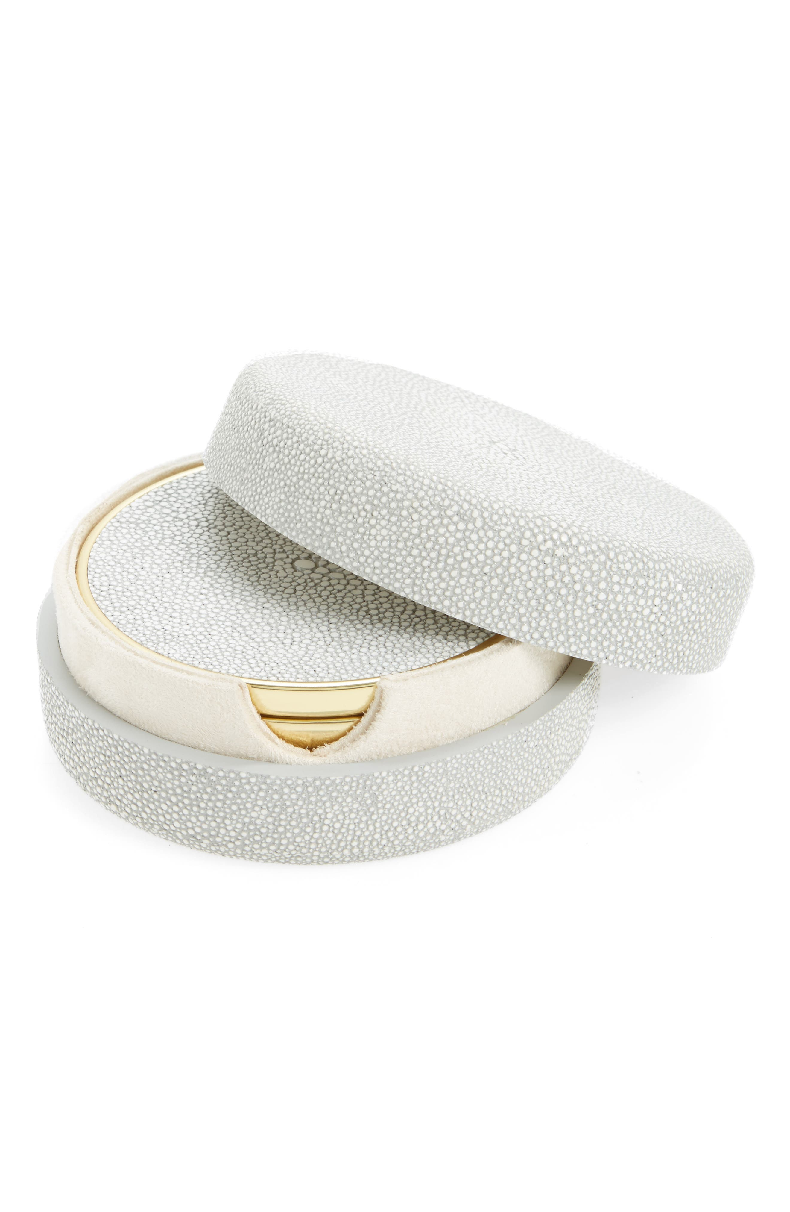 Shagreen Set of 4 Coasters with Lidded Holder,                         Main,                         color, 020