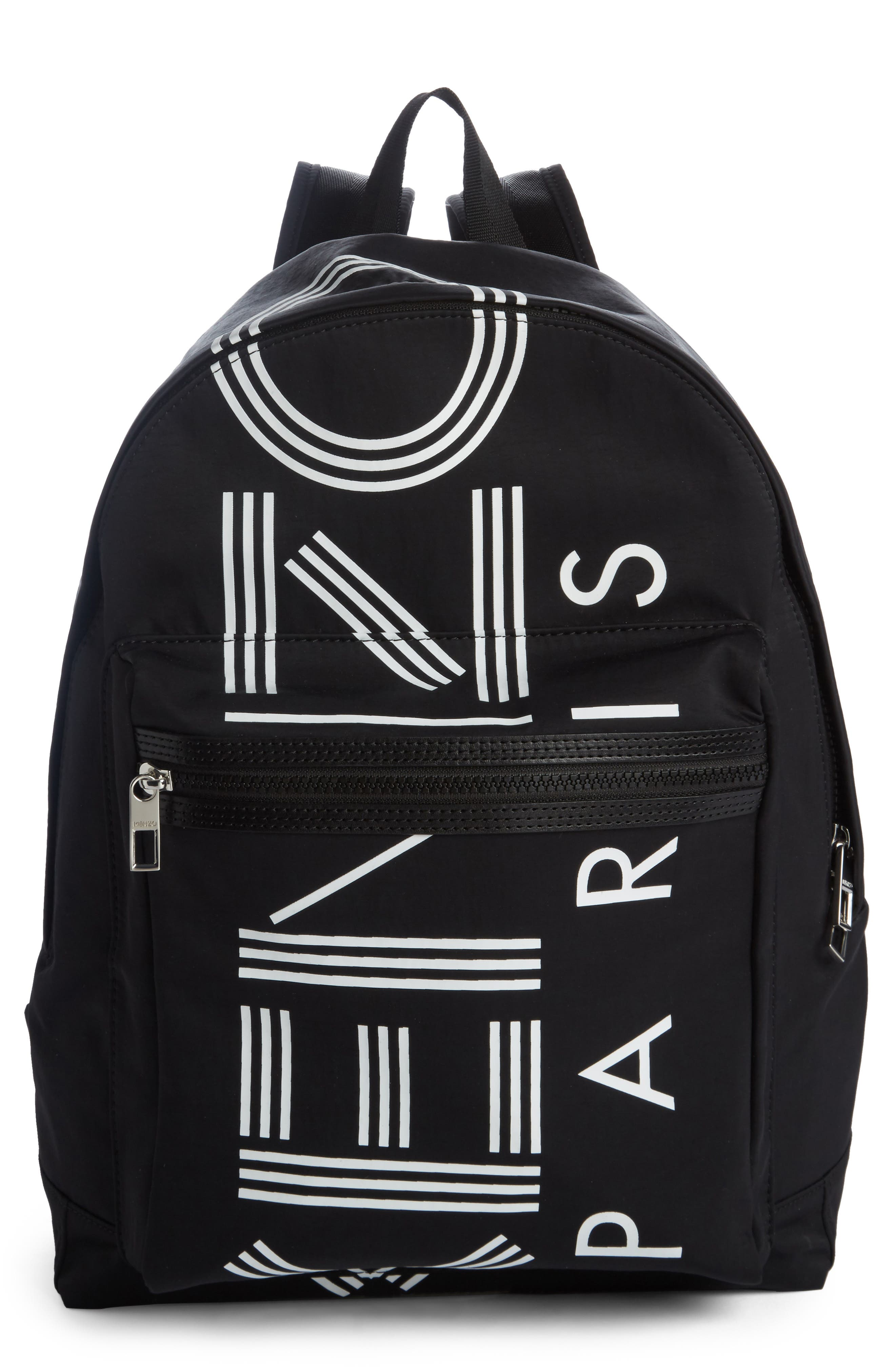 Sport Logo Nylon Backpack,                             Main thumbnail 1, color,                             BLACK