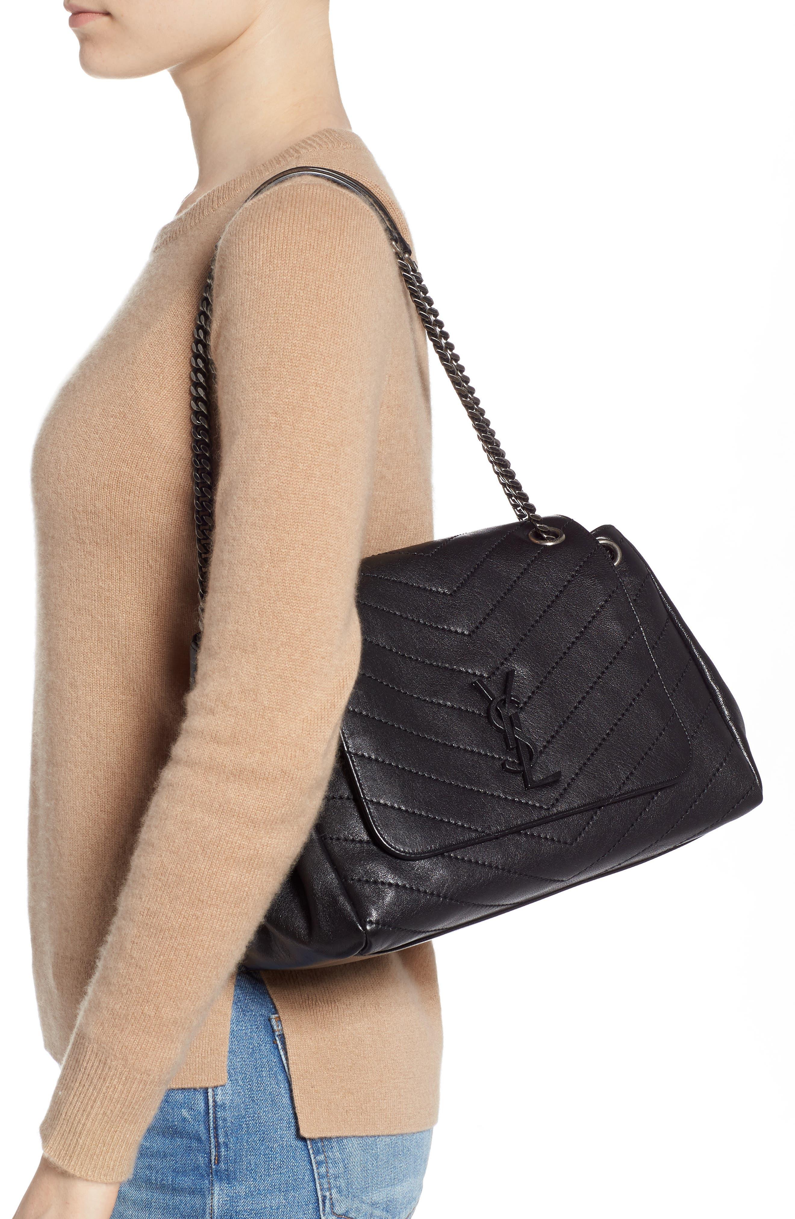 Nolita Large Leather Shoulder Bag,                             Alternate thumbnail 2, color,                             NOIR